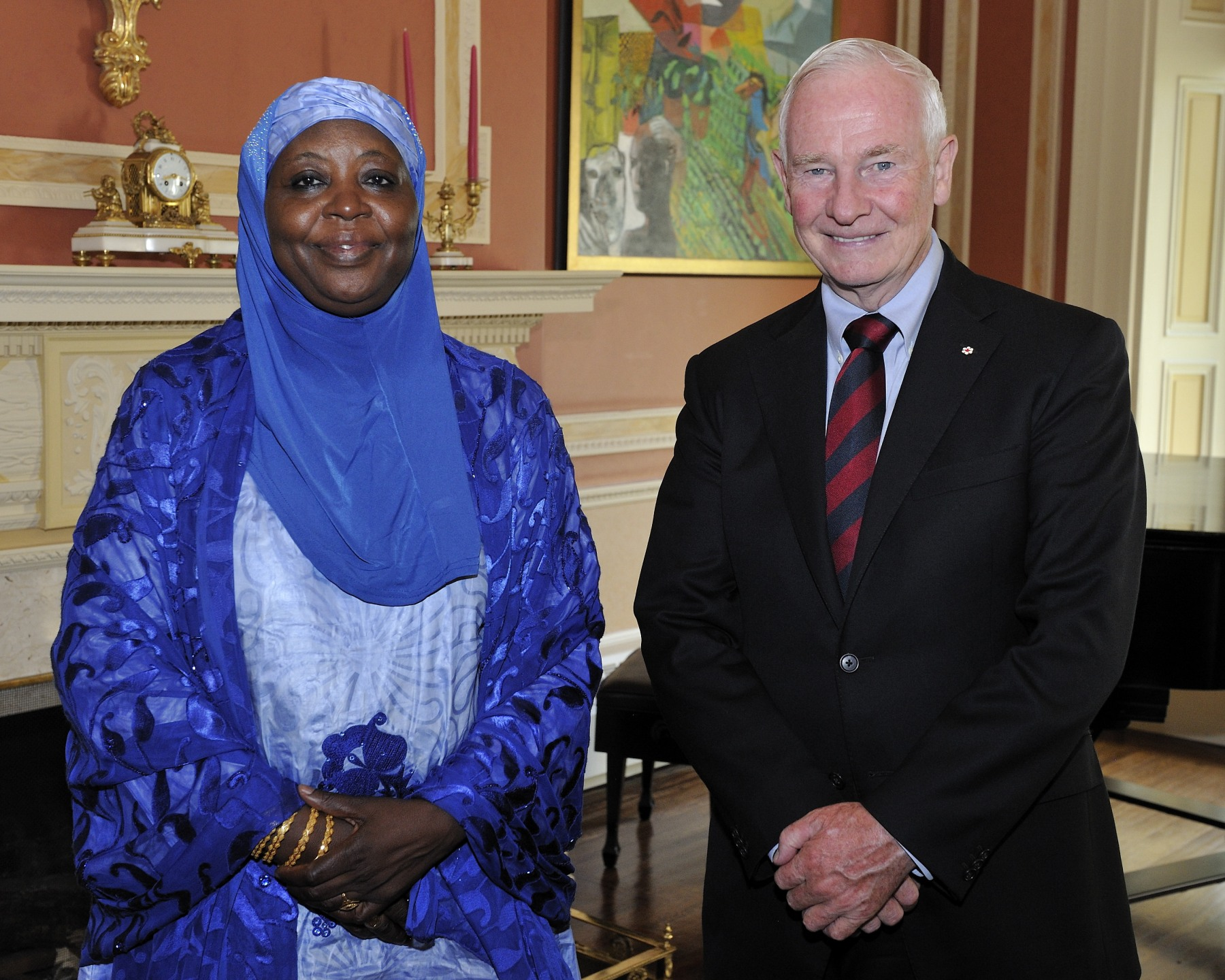 A presentation of credentials from nine new heads of mission took place on September 13, 2012, at Rideau Hall. On this occasion, the Governor General first received the credentials of Her Excellency Sidibé Fadjimata, Ambassador of the Republic of Niger.
