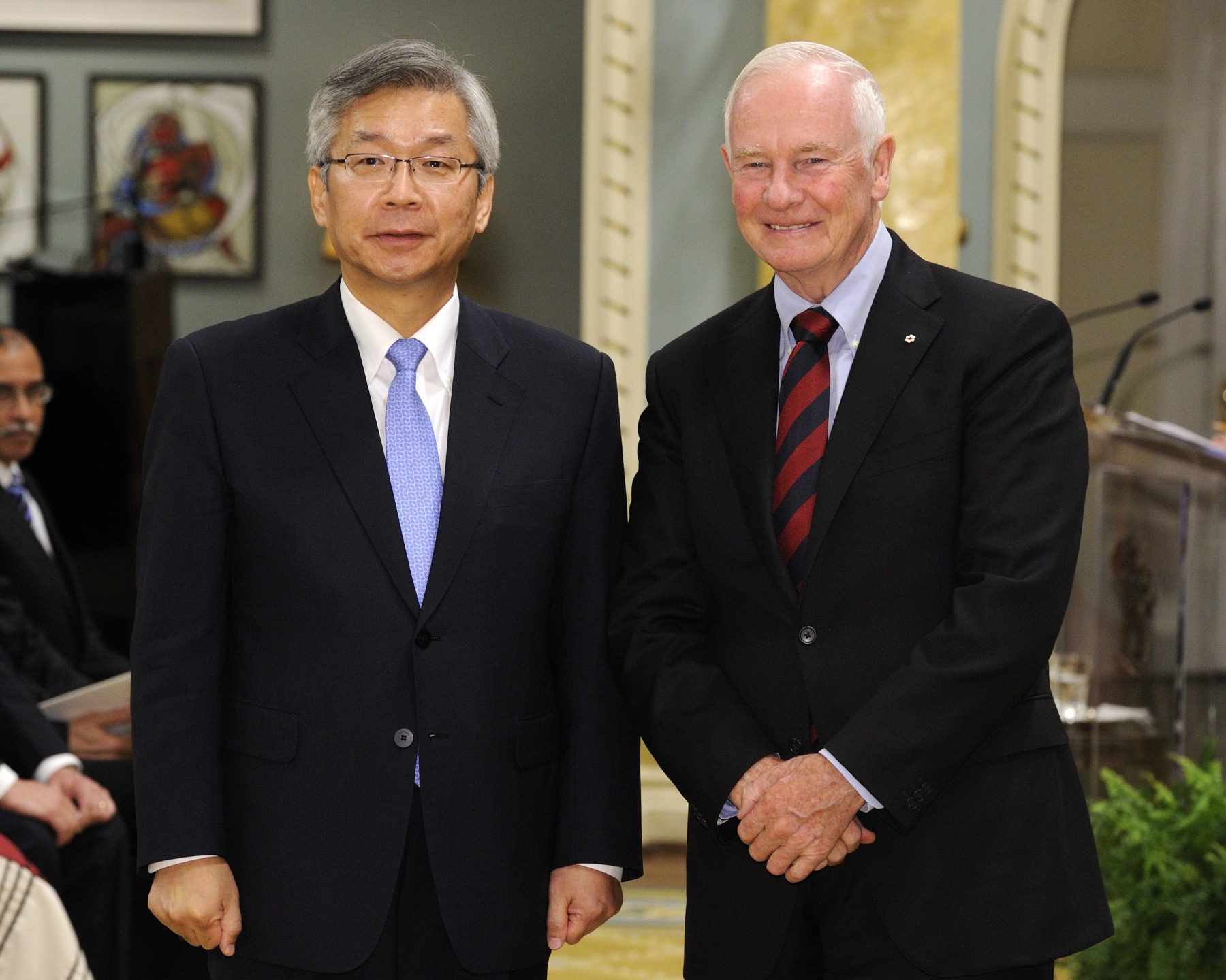 The Governor General received the credentials of His Excellency Cho Hee-yong, Ambassador of the Republic of Korea.