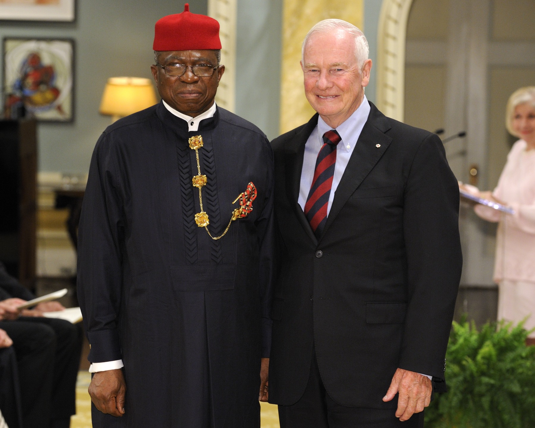The Governor General received the credentials of His Excellency Ojo Uma Maduekwe, High Commissioner of the Federal Republic of Nigeria.