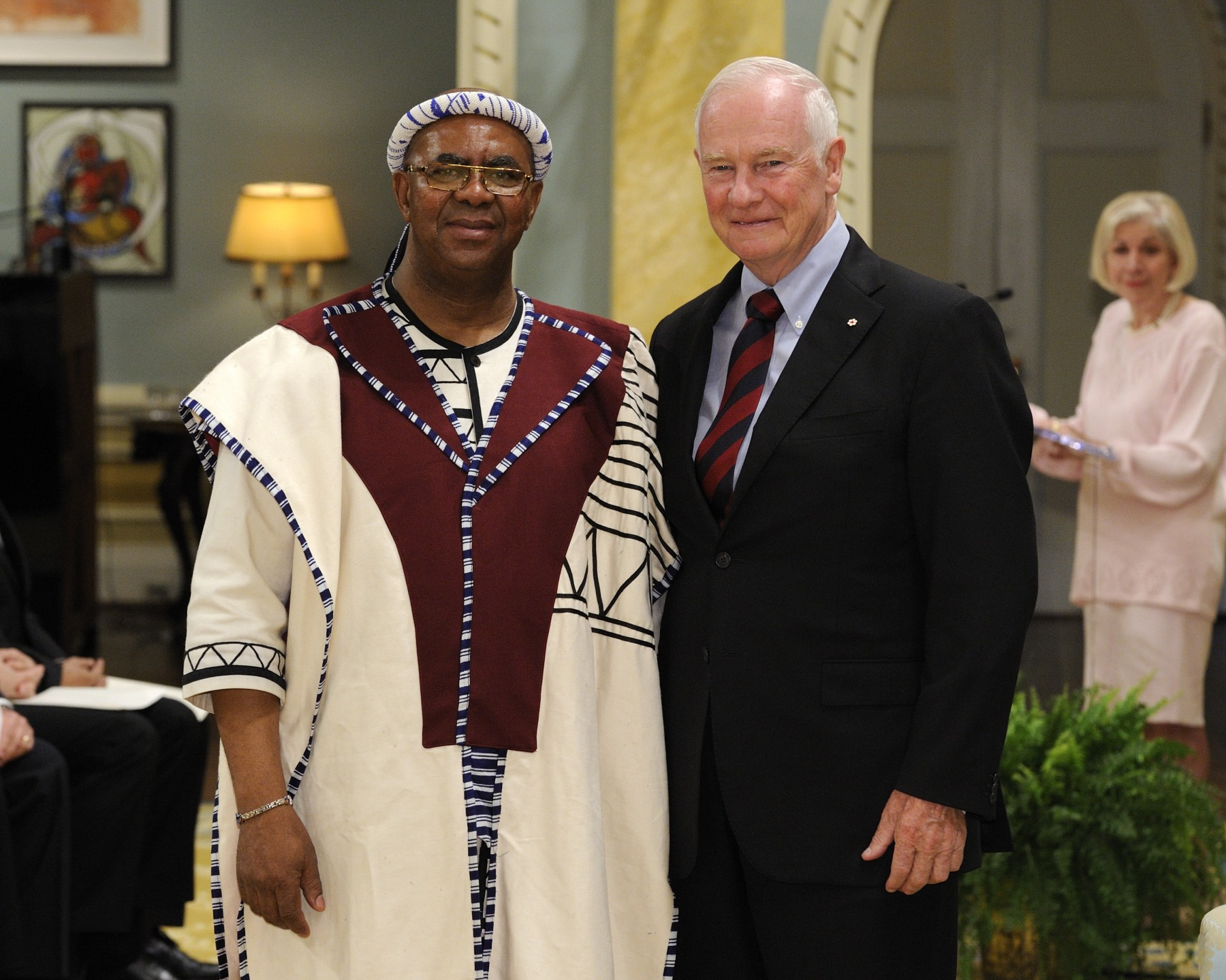 The Governor General received the credentials of His Excellency Membathisi Mphumzi Shepherd Mdladlana, High Commissioner of the Republic of South Africa.