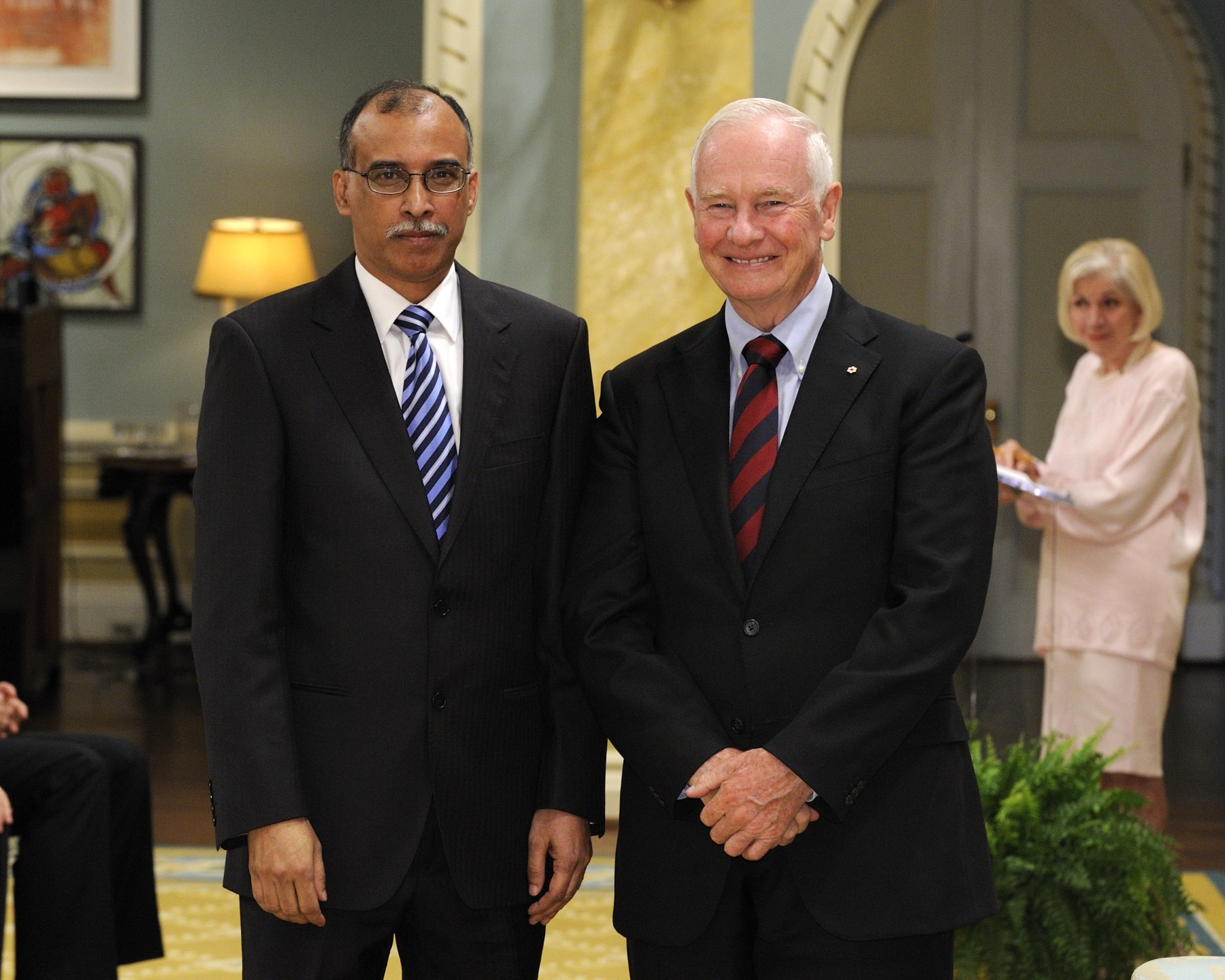 The Governor General received the credentials of His Excellency His Excellency Kamrul Ahsan, High Commissioner for the People's Republic of Bangladesh.