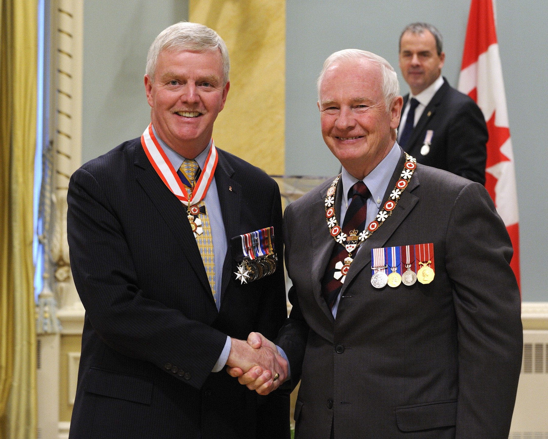 General Rick J. Hillier, O.C., C.M.M., M.S.C., C.D. (Ret'd) (Ottawa, Ontario) served his nation with distinction for more than 35 years. As an army commander, he provided strong leadership both at home, during domestic challenges such as the 1998 ice storm, and abroad, leading multinational forces in Bosnia-Herzegovina and in Afghanistan. As chief of the Defence Staff, he embodied the values of duty and honour, inspiring pride in our military. His leadership continues in his role as chancellor of Memorial University of Newfoundland.
