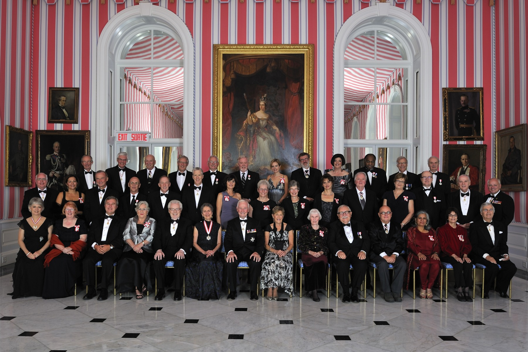 Their Excellencies are pictured with the 43 recipients that were invested into the Order of Canada on September 28, 2012.
