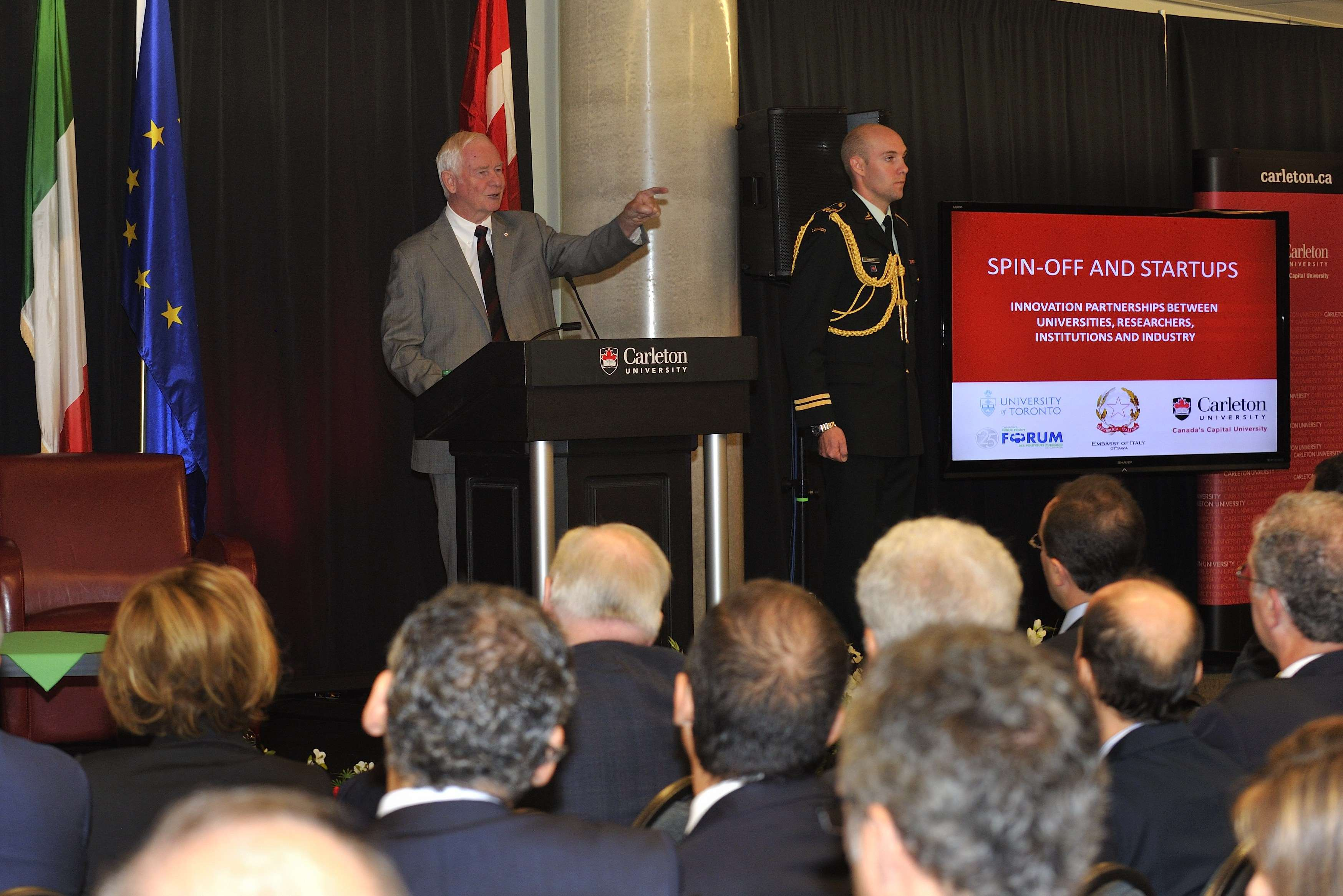 "During his speech, the Governor General stated: ""I am passionate about the influence that educational institutions like this one can have over our economic development. Carleton University, for example—which has been at the centre of more than 150 spinoff companies—has been creating programs between many countries, including Italy, to promote the exchange of students and ideas. It is through this increase in sharing that we are able to increase our potential. Utilizing what I call the diplomacy of knowledge, Canada, Carleton and Italy can benefit both our countries."""