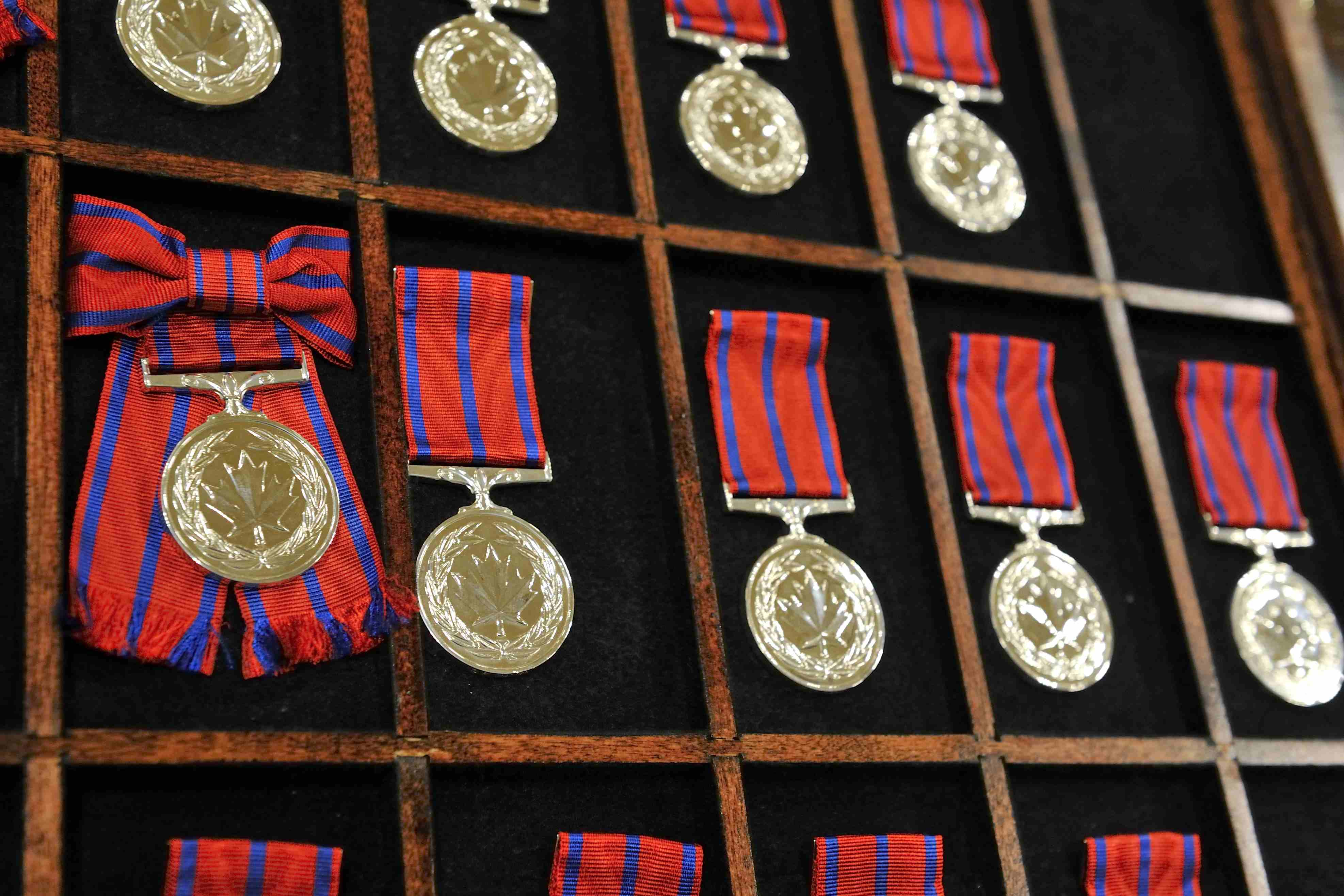 The Governor General presented 44 Medals of Bravery at a ceremony at Rideau Hall, on October 12, 2012. This ceremony marked the 40th anniversary of the creation of the Decorations for Bravery.