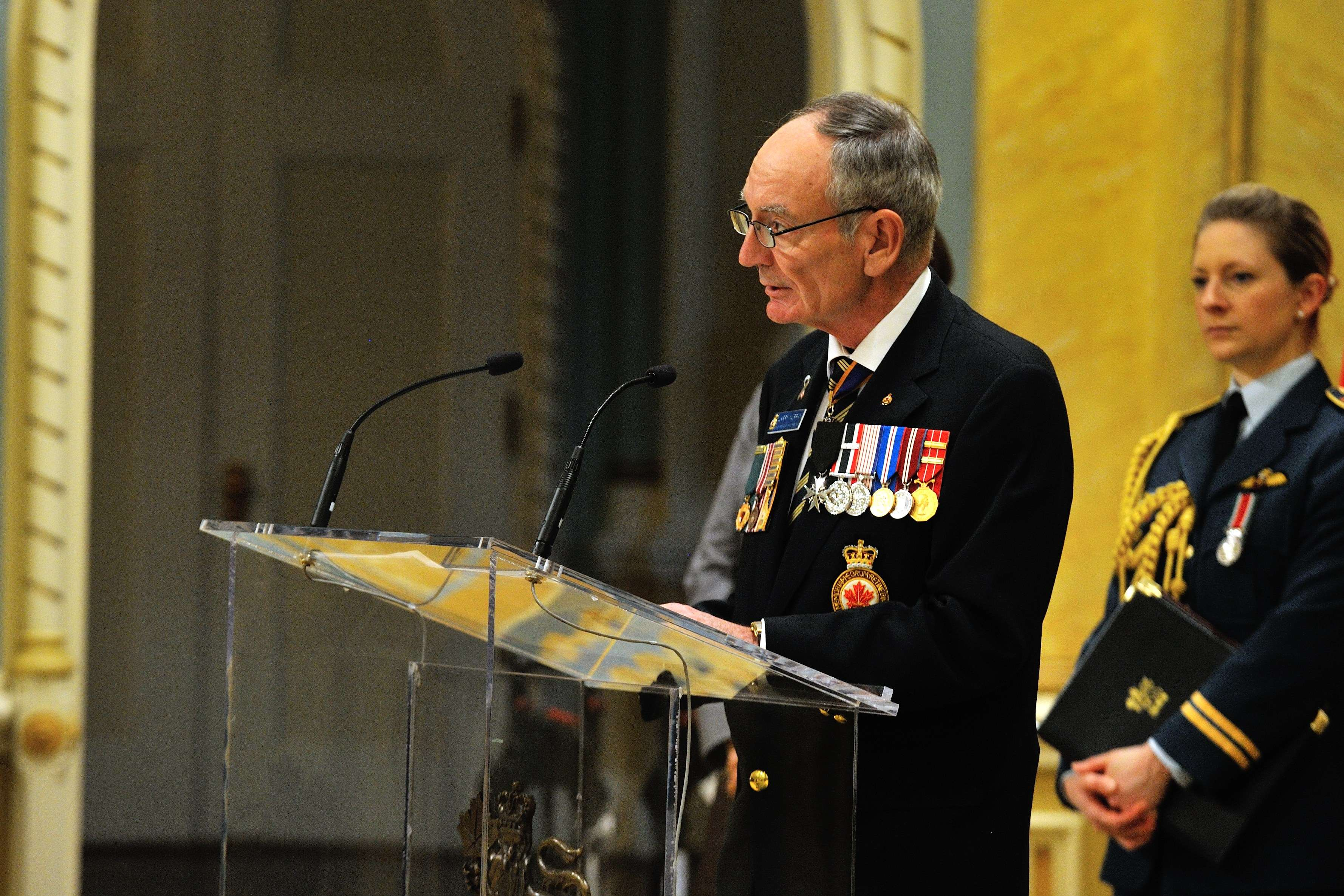 Vice-Admiral (Ret'd) Larry Murray, grand president of The Royal Canadian Legion, also delivered an address on this occasion.