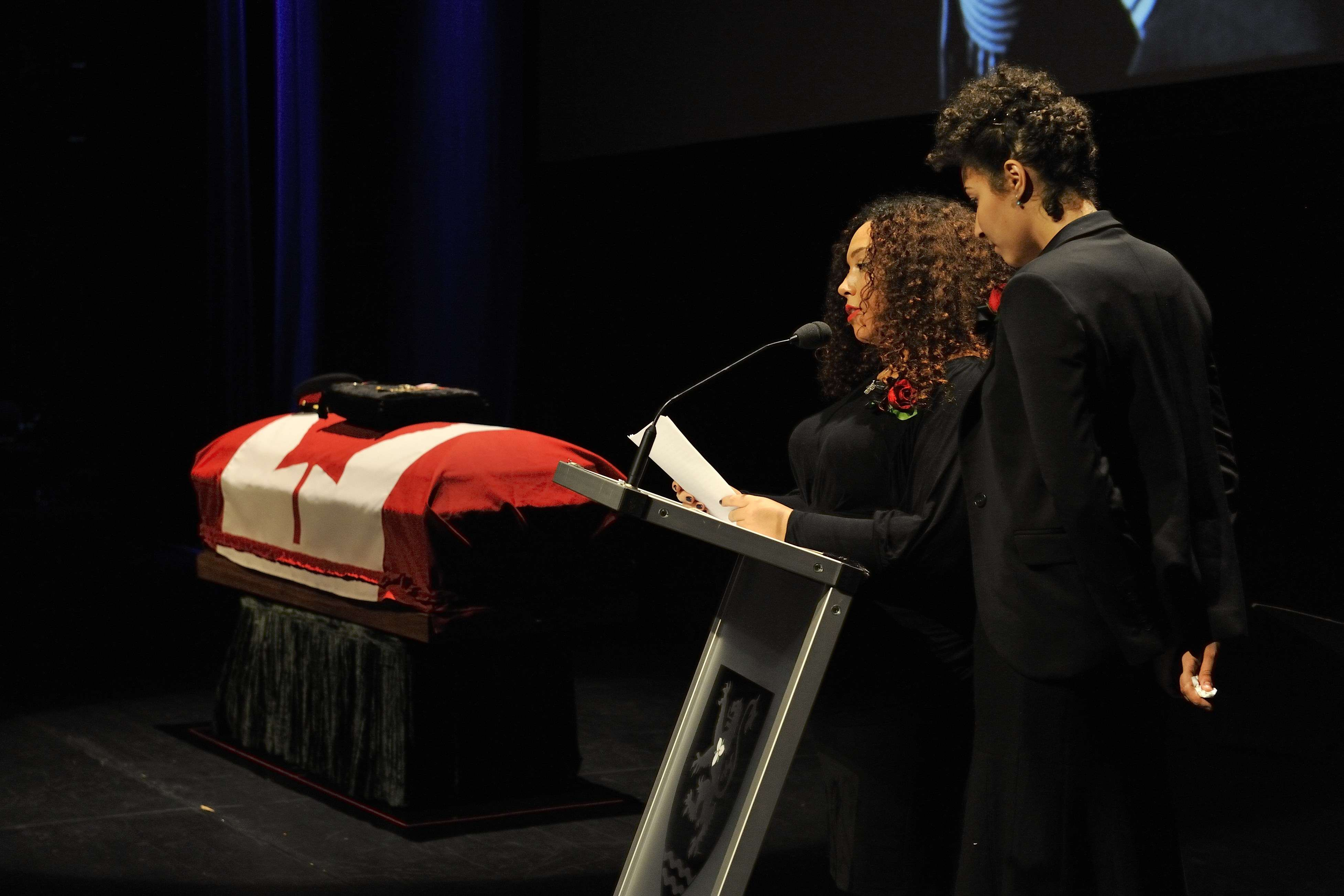 Erika and Marissa Alexander, the grand daughters of the Honourable Lincoln Alexander, delivered a touching address on behalf of their family.