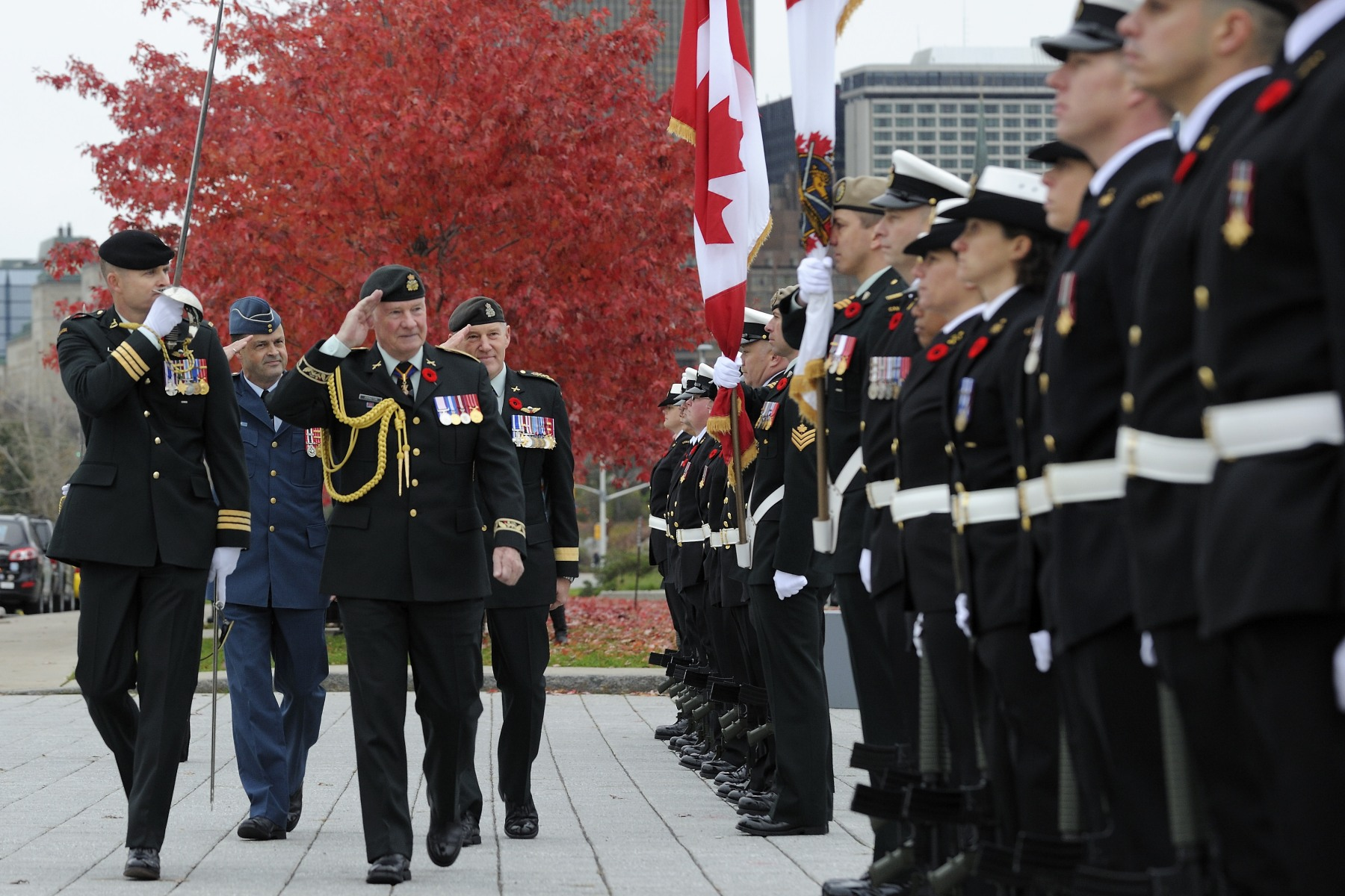 Upon his arrival, the Governor General received full military honours and conducted the inspection of a 50-member Canadian Forces guard of honour.