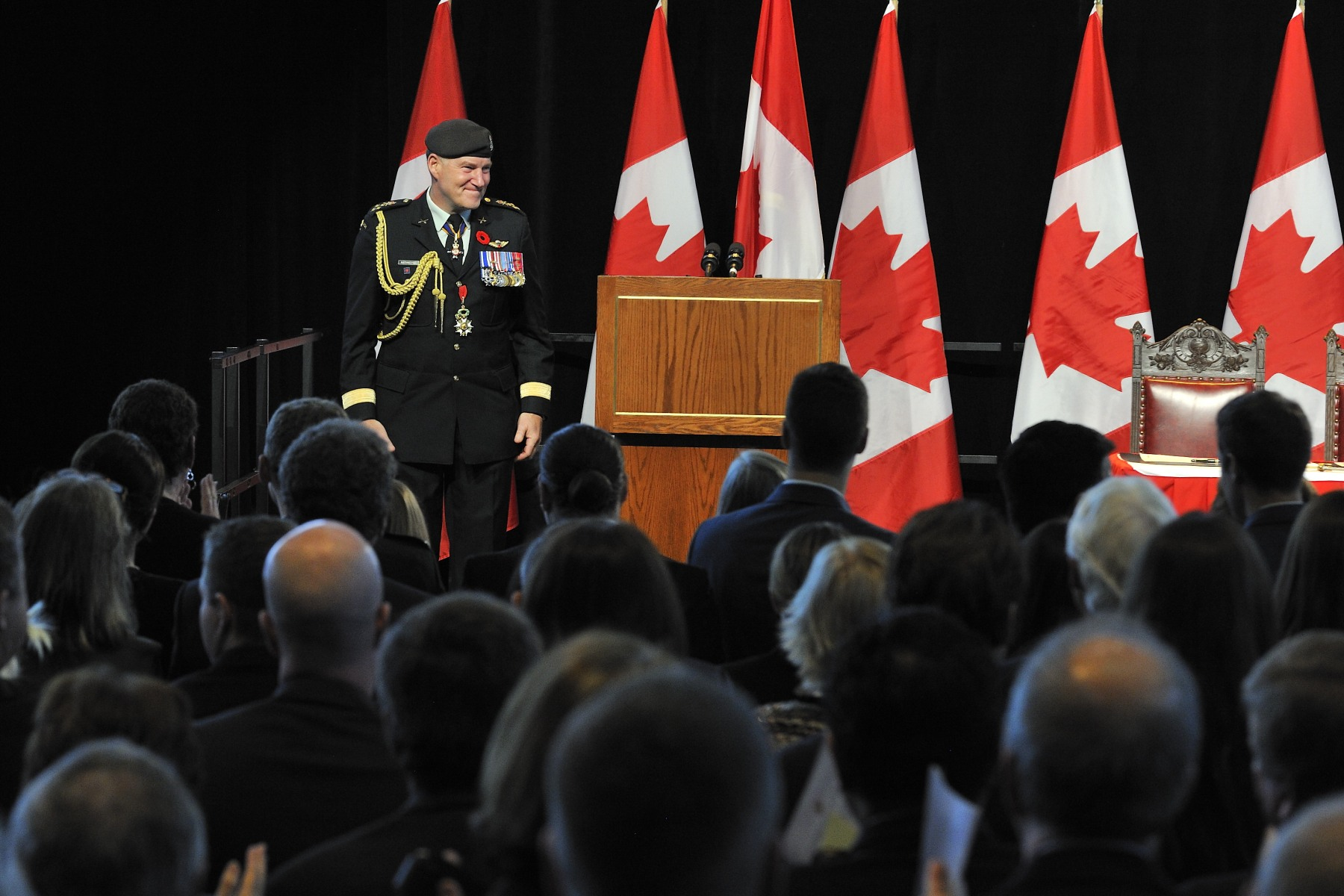 Following his speech, former Chief of the Defence Staff Standing General Walt Natynczyk received a standing ovation.