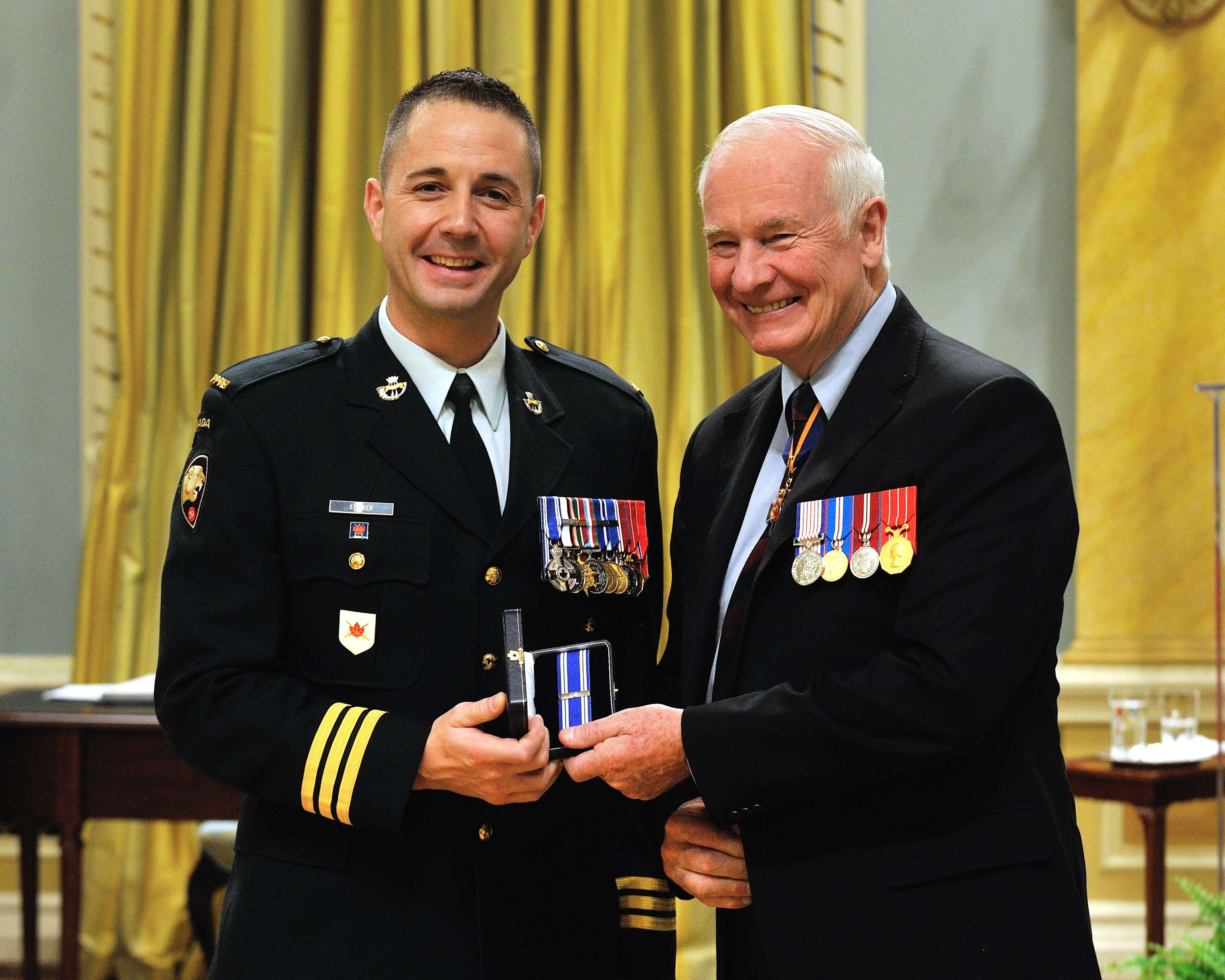 Lieutenant-Colonel Mason James Stalker, M.S.M., C.D., received the Meritorious Service Medal (Military Division). Lieutenant-Colonel Stalker displayed leadership and tactical acumen as the commanding officer of the Canadian contingent at Regional Command (South) Headquarters and as executive officer to the deputy commanding general from September 2010 to October 2011.  Responsible for operations in the most volatile and violent region of Afghanistan, he was instrumental to operational success and significantly contributed to defeating the insurgents.  Lieutenant-Colonel Stalker's performance was of a high standard and brought honour to the Canadian Forces and to Canada.
