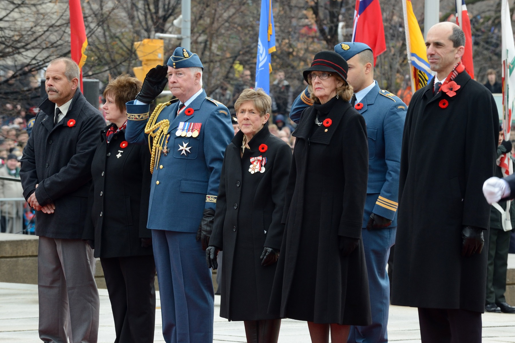 Their Excellencies the Right Honourable David Johnston, Governor General and Commander-in-Chief of Canada, and Mrs. Sharon Johnston attended the National Remembrance Day Ceremony at the National War Memorial in Ottawa.