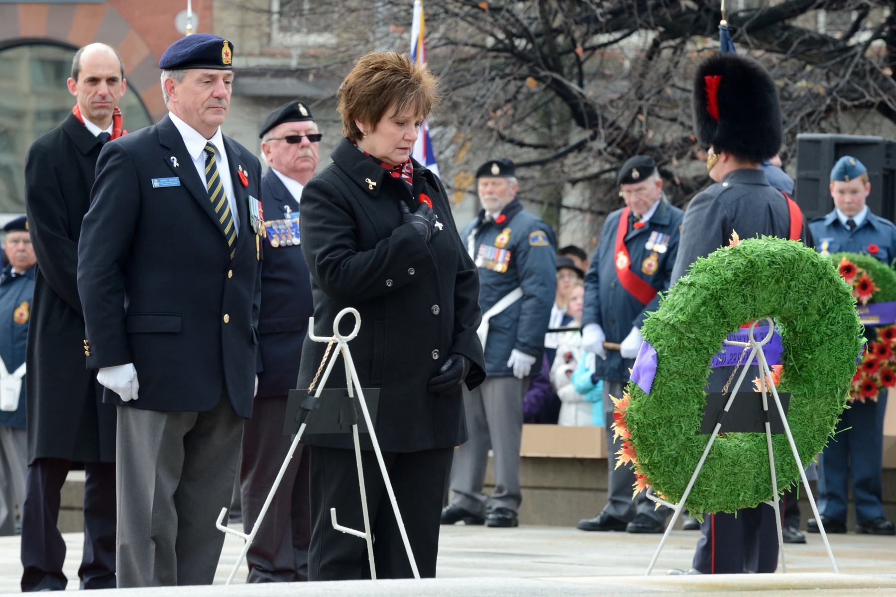 Their Excellencies were followed by the 2012 National Silver Cross Mother, Mrs. Roxanne Priede, whose son, Master Corporal Darrell Jason Priede, died in a Chinook helicopter crash on May 30, 2007, in Afghanistan.