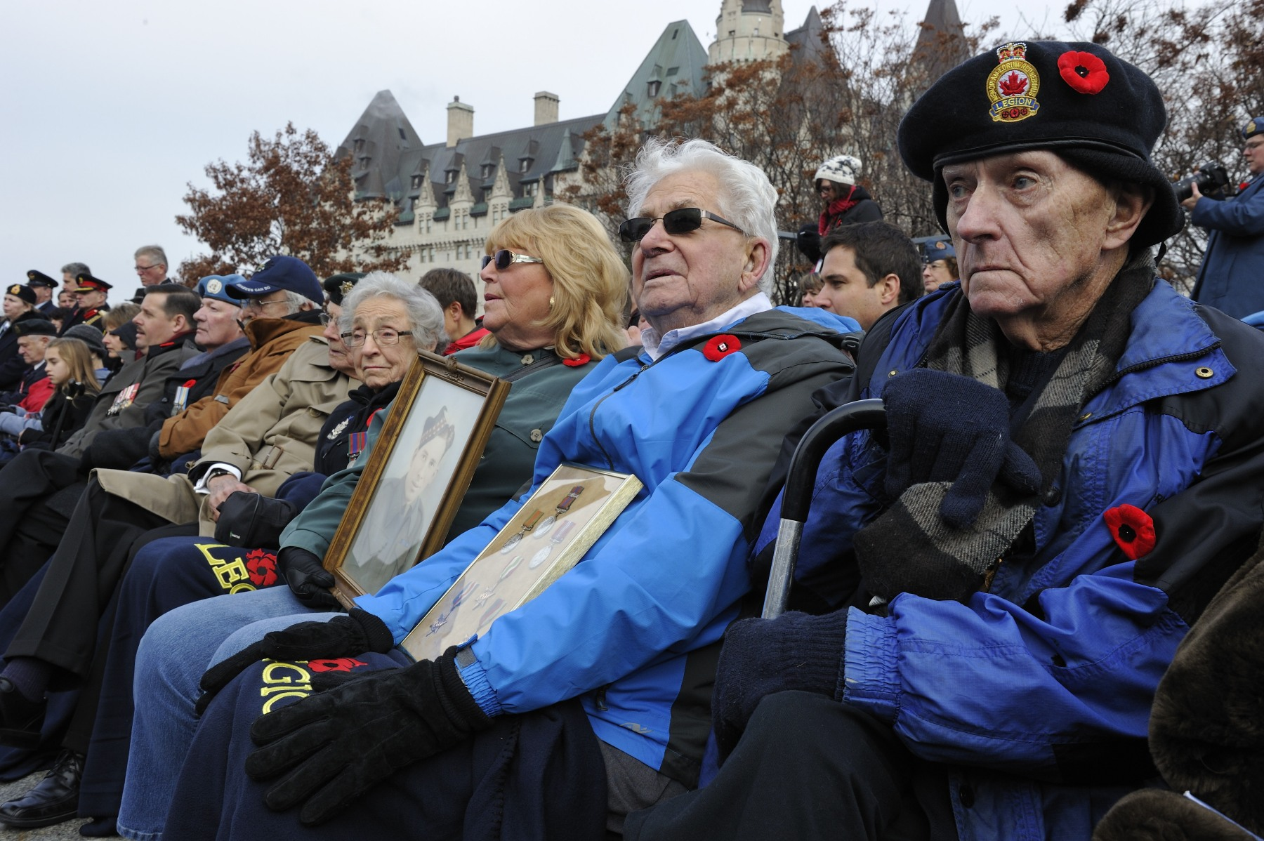 Hundreds of veterans gathered around the National War Memorial for this ceremony.