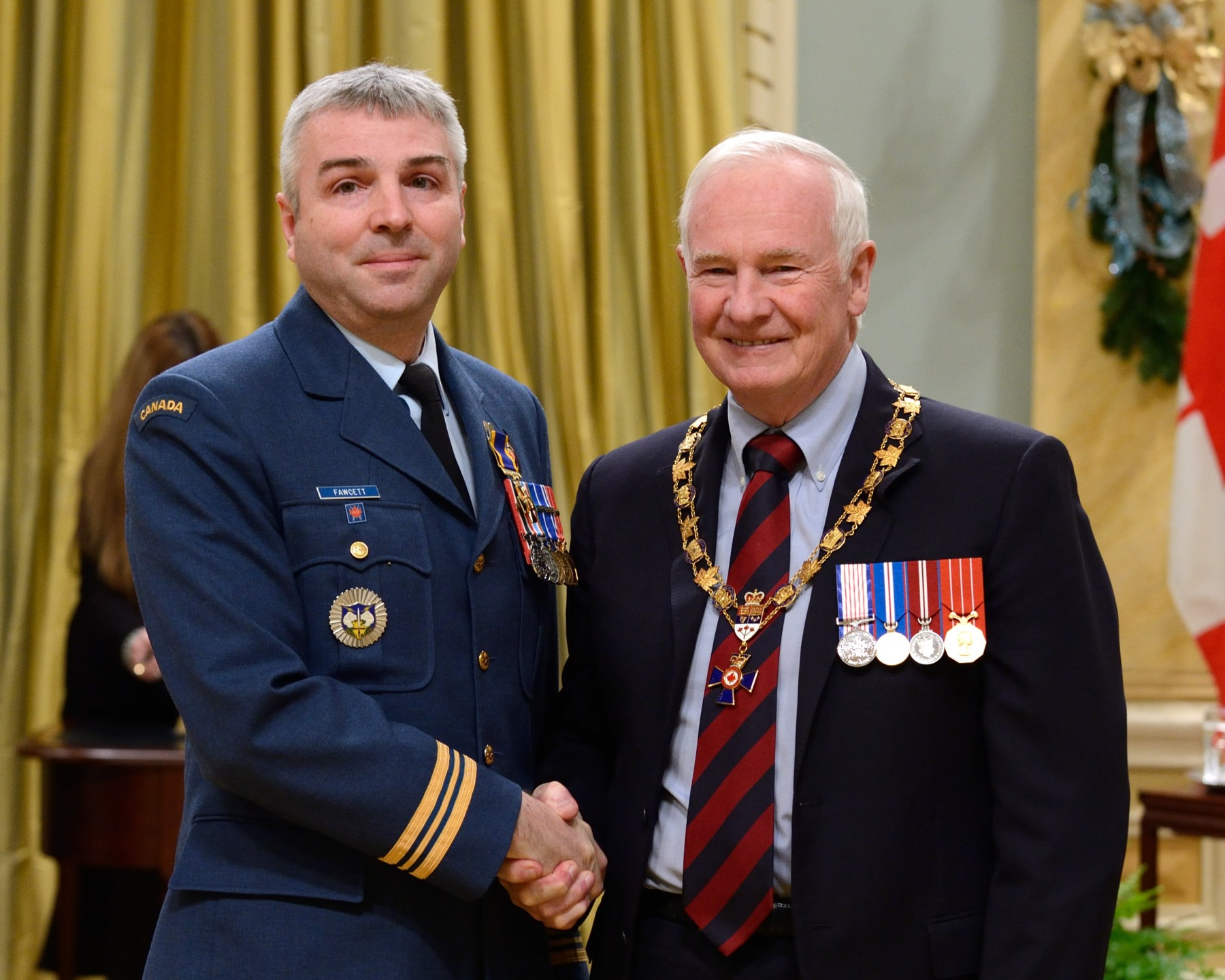 His Excellency presented the Order of Military Merit at the Officer level (O.M.M.) to Major Michael Fawcett, O.M.M., C.D., Canadian Contingent Alaskan Norad Region Headquarters