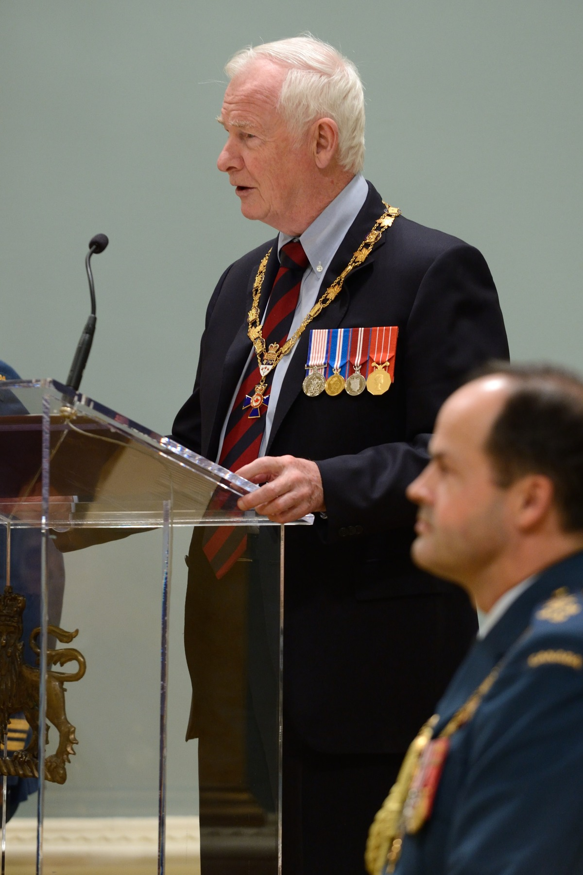 """Duty with honour. In that short phrase lies the great promise of the Canadian Forces to contribute to a more peaceful, secure and just world,"" said His Excellency. ""As members of the Order of Military Merit, you understand your role in helping others and in defending Canada's democratic values."""