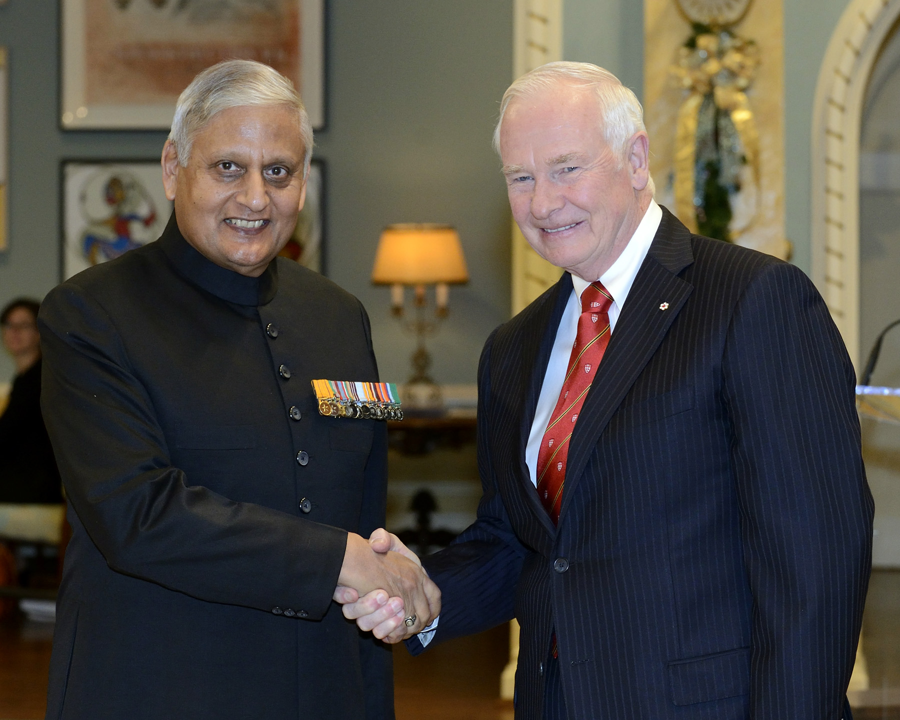 The Governor General received the credentials of His Excellency Nirmal Kumar Verma, High Commissioner for the Republic of India.