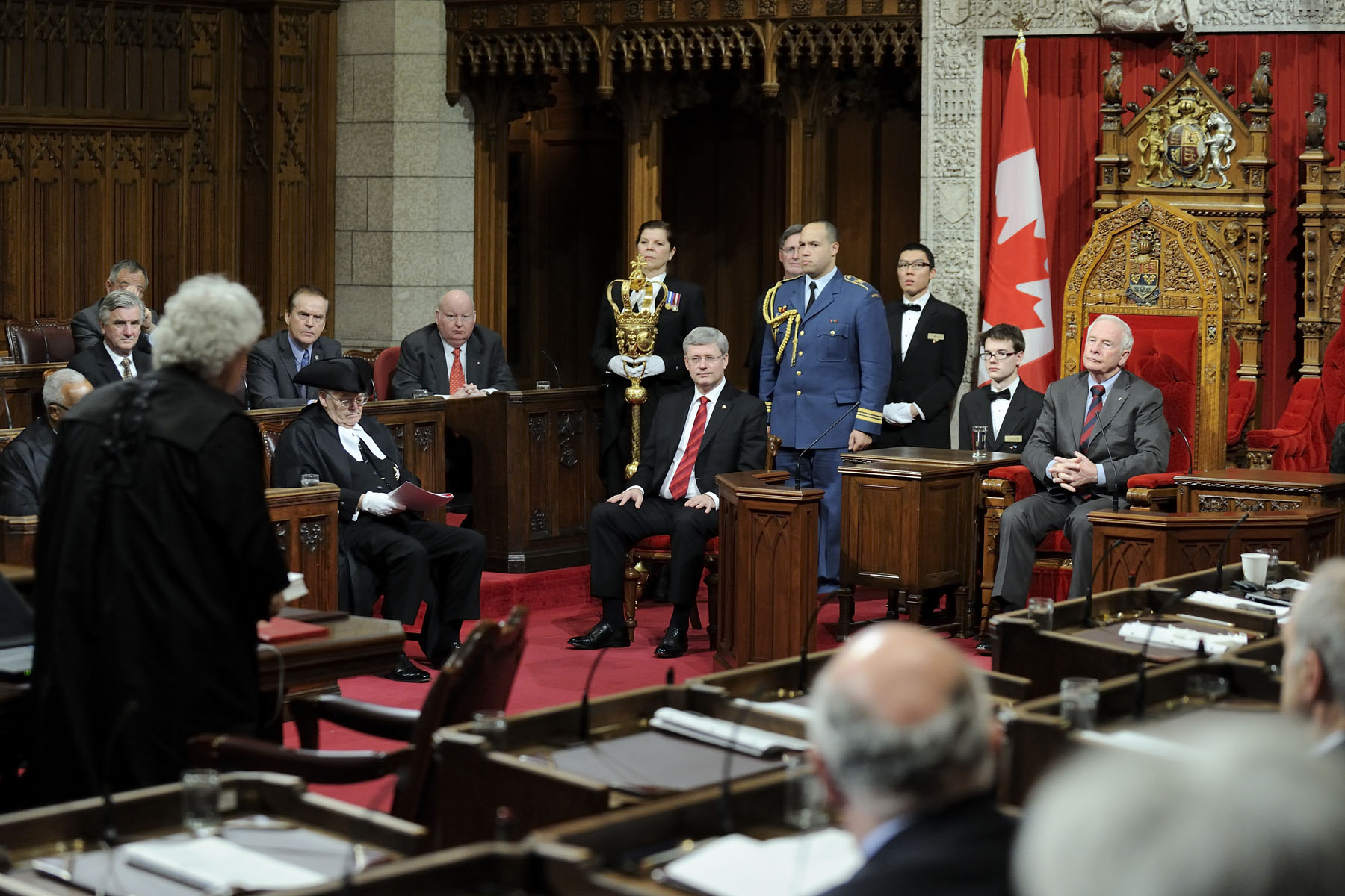 His Excellency the Right Honourable David Johnston, Governor General of Canada, granted Royal Assent to bills during a formal ceremony in the Senate Chamber, on December 14, 2012.