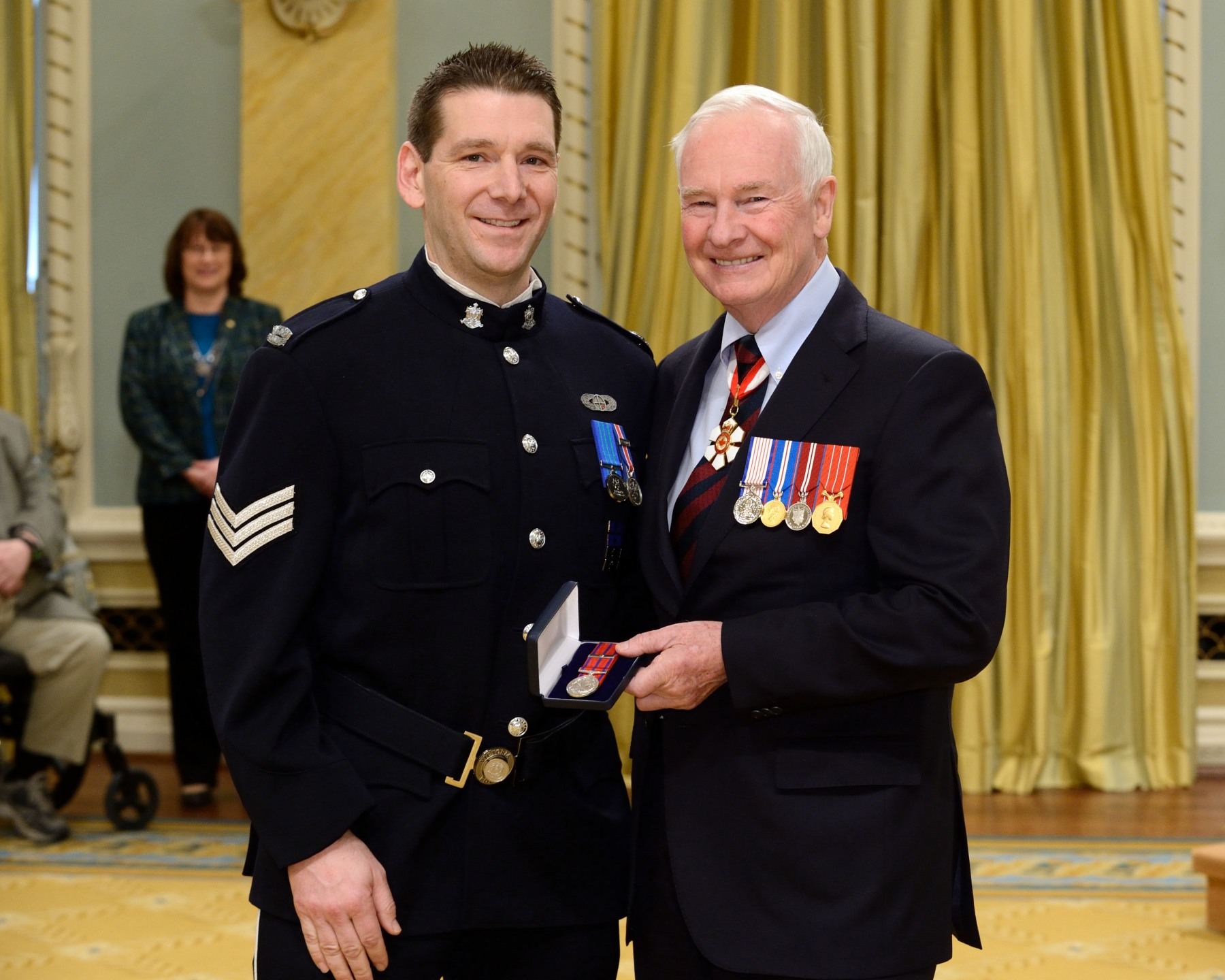 On June 15, 2011, Victoria Police sergeants Michael Brown and Michael Johnston (pictured), along with constables Steve Kowan and Ken Ramsay, risked their lives to search a drug dealer's house rigged with deadly booby traps, in Victoria, British Columbia. The officers were in danger of being electrocuted or injured by explosions from flammable liquids that were wired to homemade triggers placed randomly throughout the residence. Thankfully, no one was inside and the search was conducted without setting off any of the traps. (This is the second Decoration for Bravery awarded to Sergeant Johnston.)