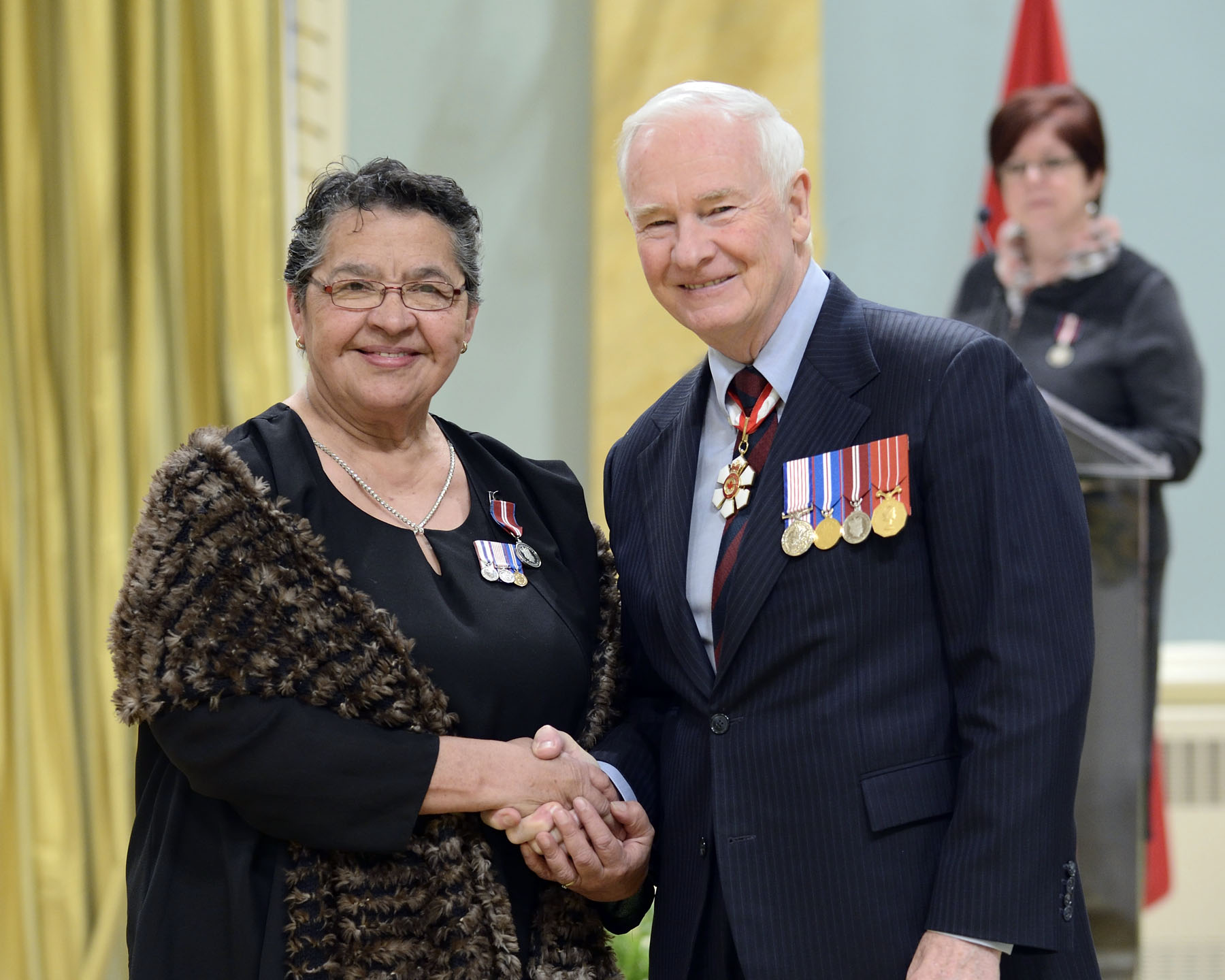 Jane Dragon (Fort Smith, Northwest Territories) is a respected Chipewyan elder. She often speaks at schools and colleges to share her experience and to encourage students to excel in education, culture and sport.