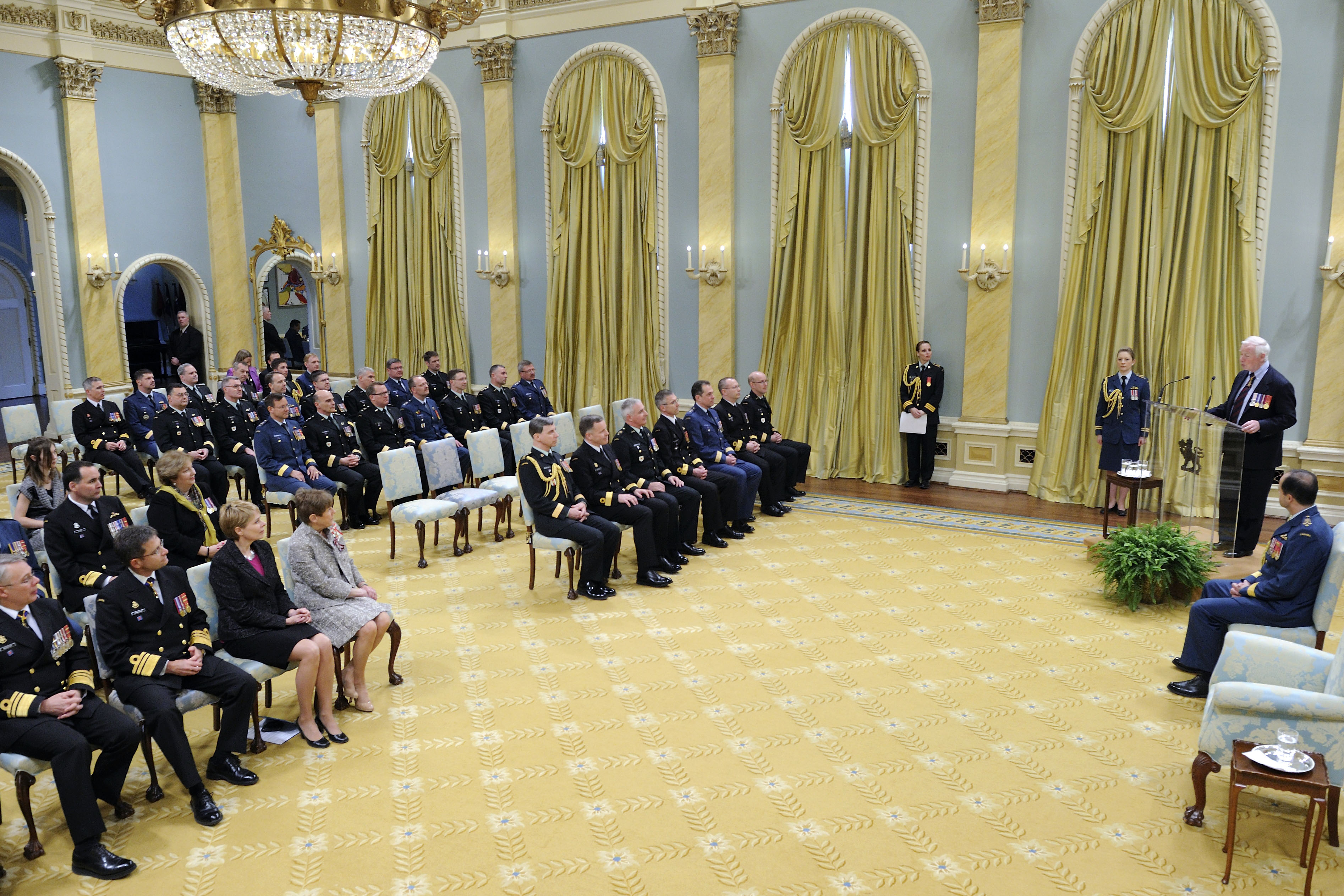 The Governor General and Commander-in-Chief of Canada recognized the promotion of Canadian Forces members during a Presentation of Scrolls Ceremony held at Rideau Hall.