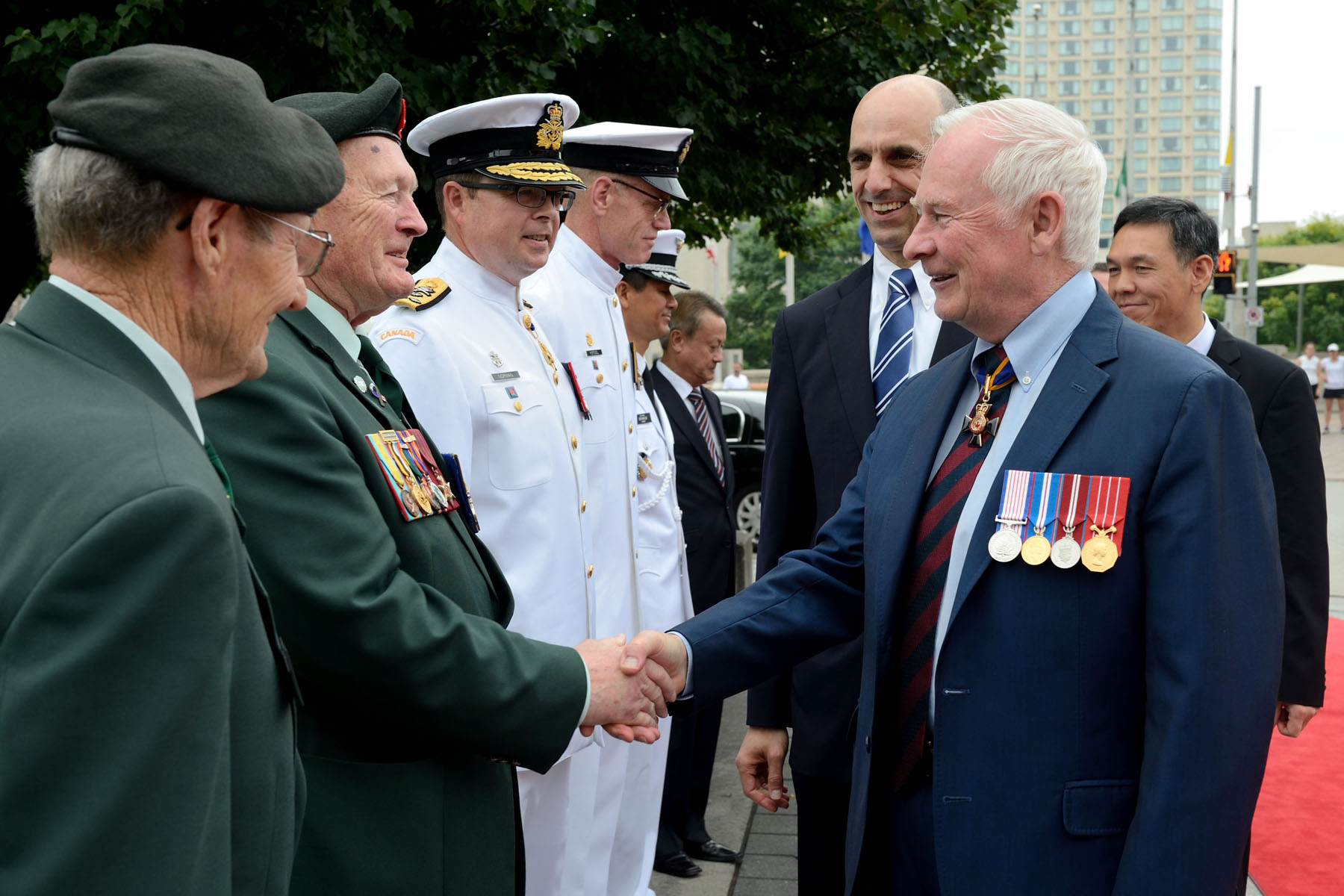 His Excellency the Right Honourable David Johnston, Governor General and Commander-in-Chief of Canada, took part in a wreath laying and ceremony of remembrance on the 60th anniversary of the Korean War Armistice, on June 23, 2013, at the National War Memorial, in Ottawa. His Excellency, joined by the Honourable Steven Blaney, Minister of Veterans Affairs and Minister for La Francophonie, thanked Canadian veterans for their service to our country.