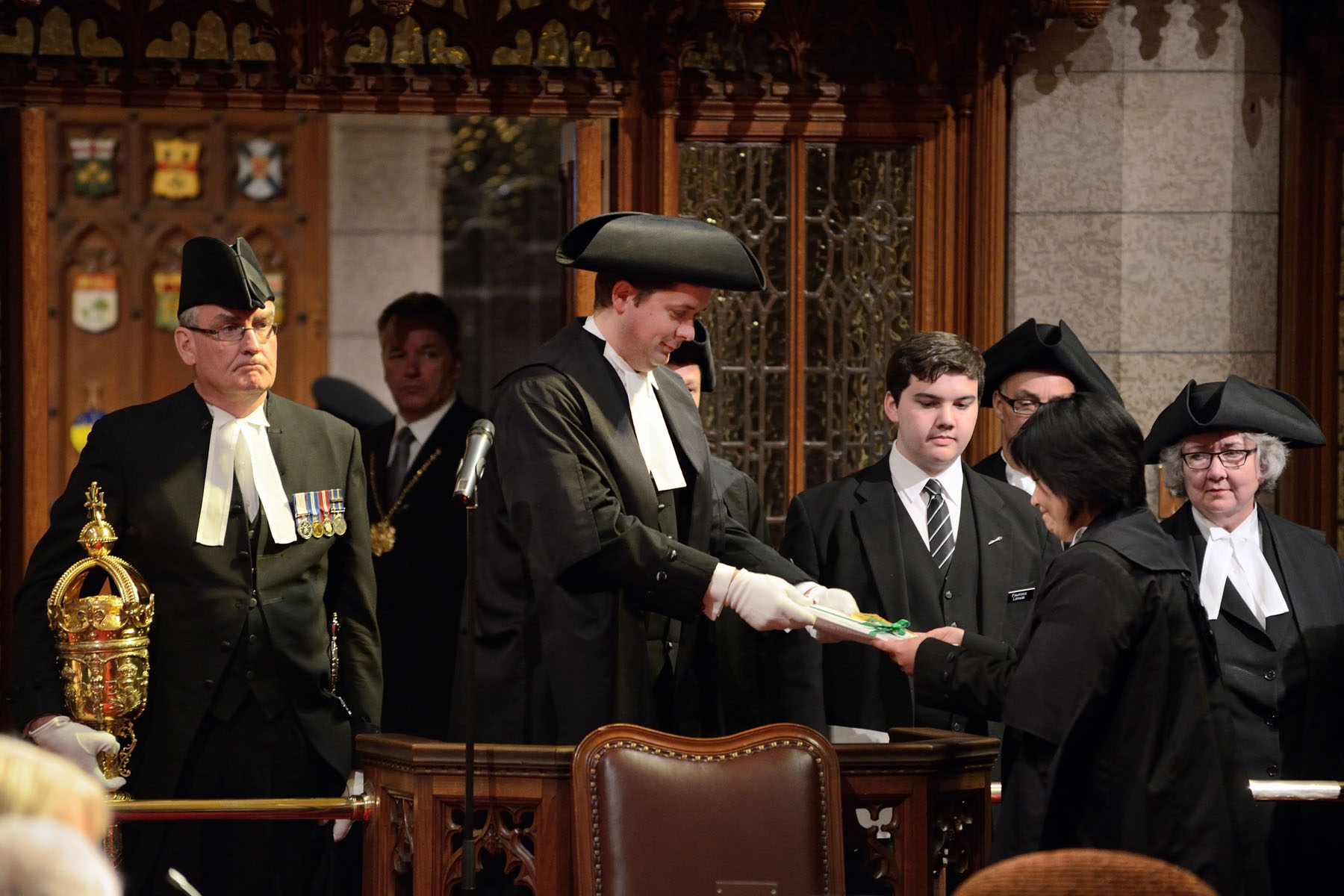 By tradition, Royal Assent is accorded in the Senate Chamber in the presence of members of the House and Senate.