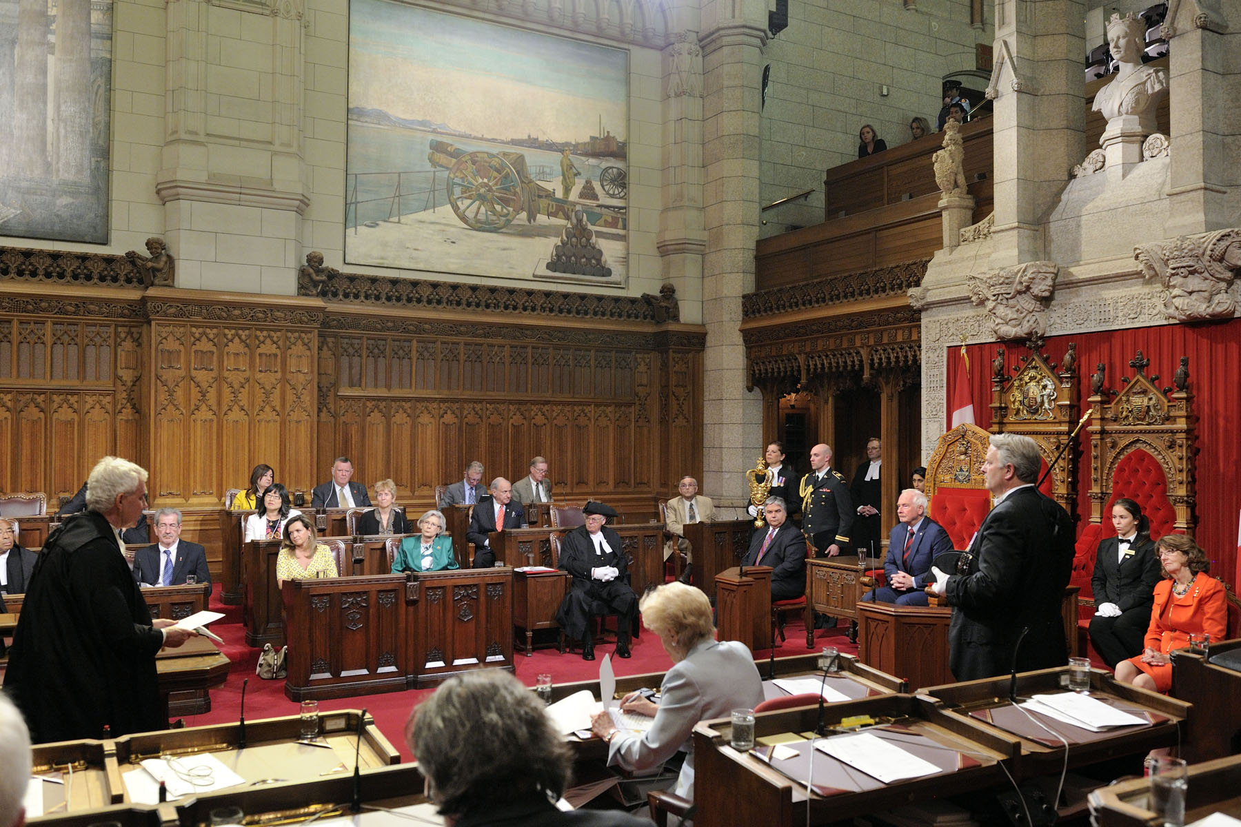His Excellency the Right Honourable David Johnston, Governor General of Canada, granted Royal Assent to bills during a formal ceremony in the Senate Chamber, on June 19, 2013.