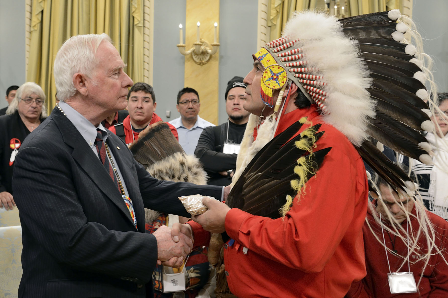 Governor General exchanged tobacco with Regional Chief Perry Bellegarde.