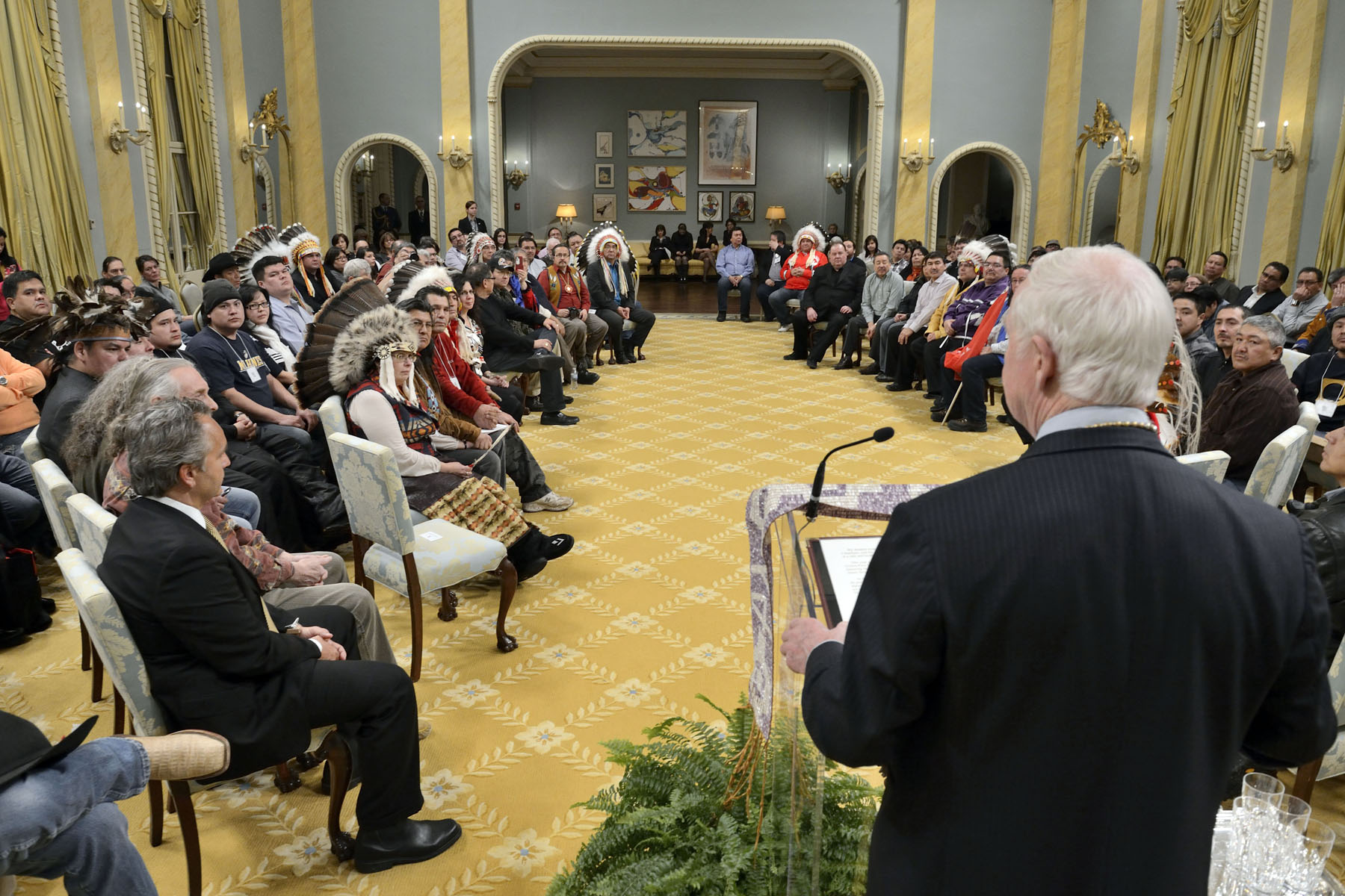"The Governor General delivered remarks on this occasion: ""Let us all strive to build trust each day and in every way—and to encourage our colleagues to build with us. By seeking ways to build trust and continuing our work with open minds, we can balance our needs with our responsibilities toward each other. We can strike a balance between diversity and unity that will strengthen us as nations and as a nation."""