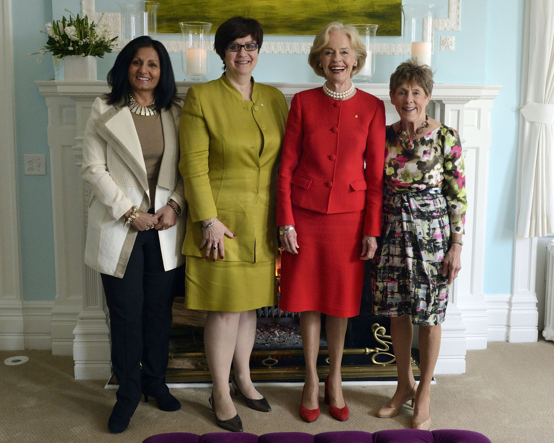 On April 5, Her Excellency Mrs. Sharon Johnston and the Governor-General of Australia, attended a luncheon with women leaders at the Official residence of the Australian High Commissioner, in Ottawa. They are pictured with Ms. Almas Jiwani, President of the Canadian National Committee for UN Women (far left) and Ms. Mary Jo Haddad, President and CEO of The Hospital for Sick Children (left).