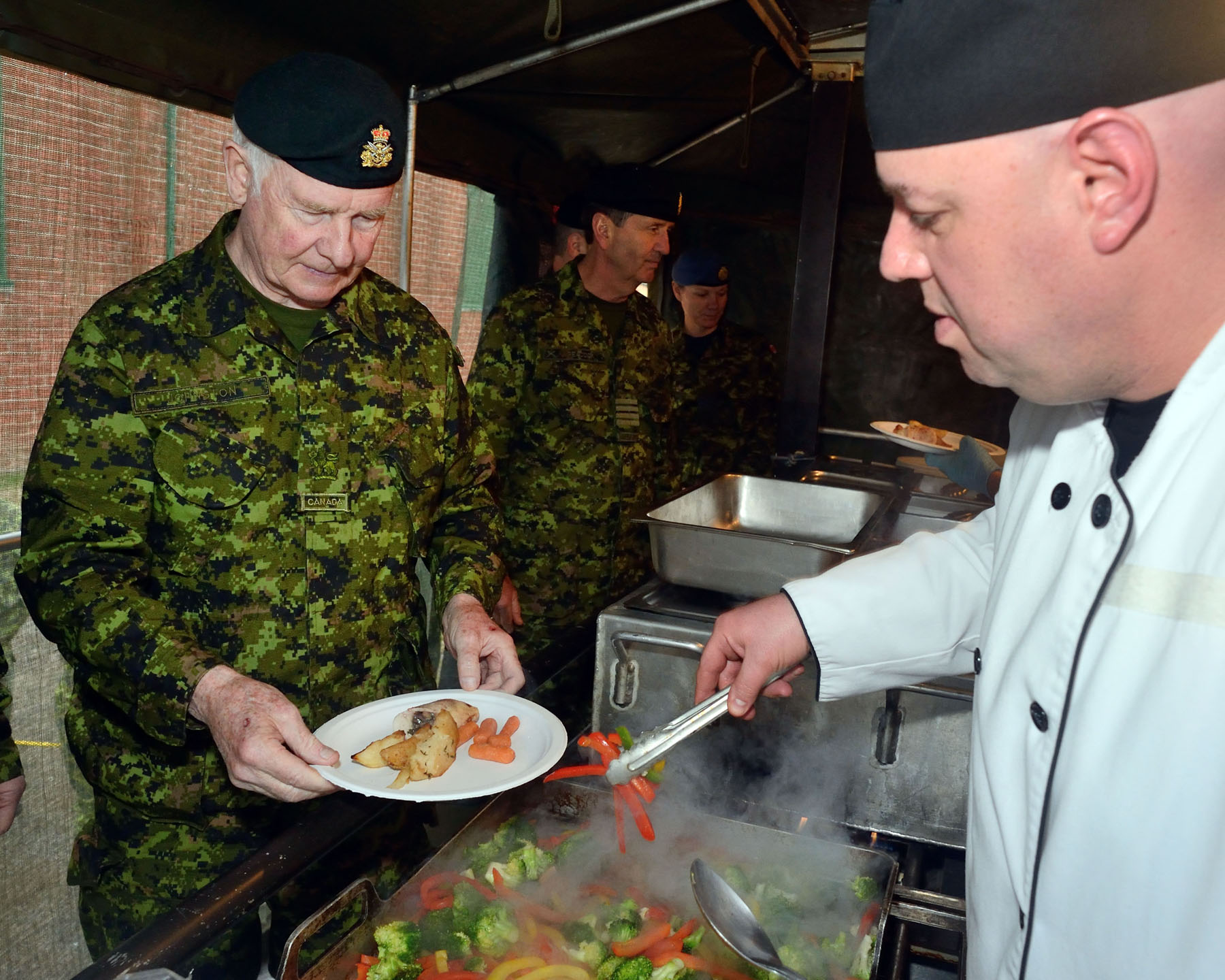 Lunch time consisted of a meal prepared by cooks from the Canadian Forces Support Training Group and served from a mobile field kitchen.