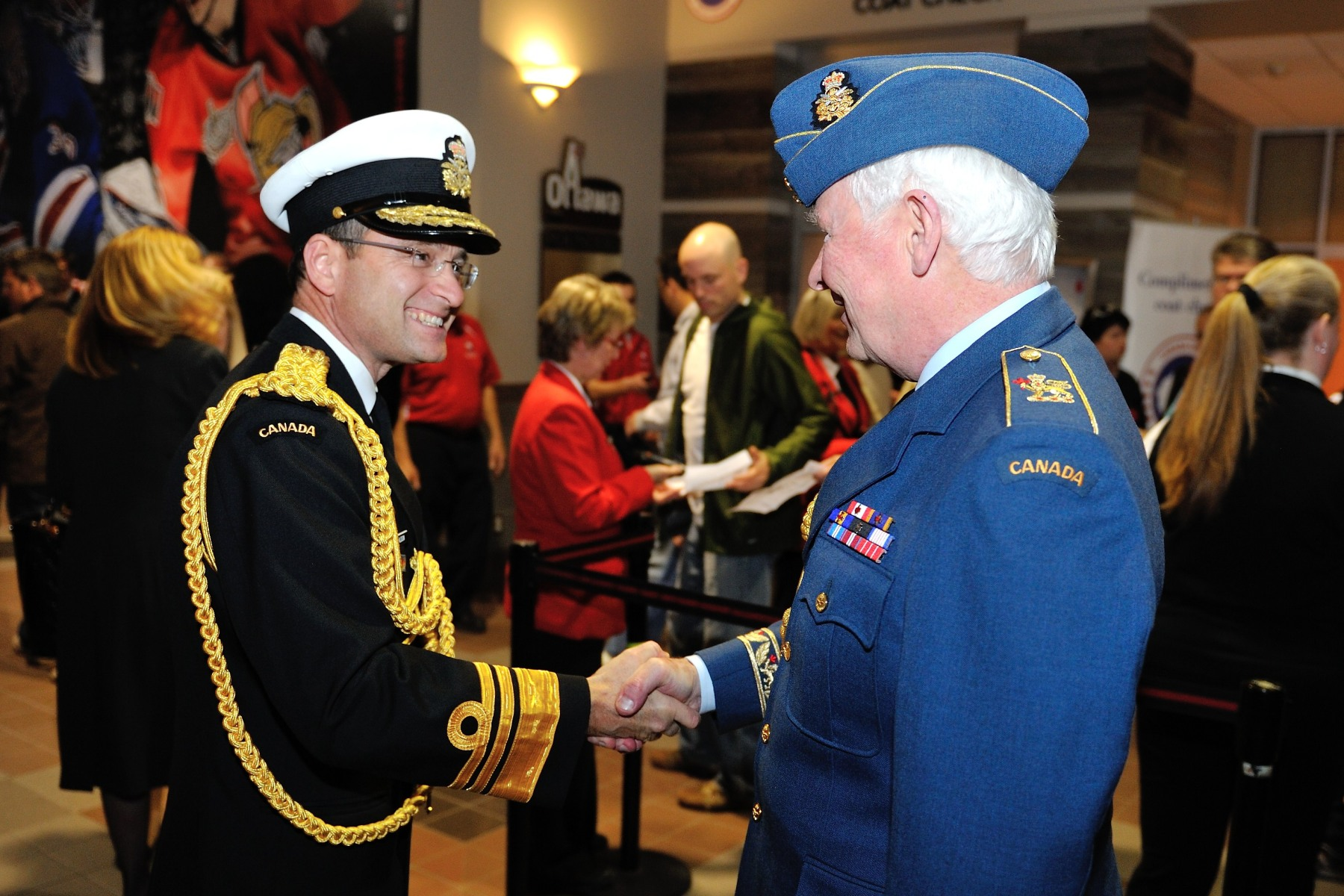 His Excellency was greeted by Vice-Admiral Bruce Donaldson, Vice-Chief of the Defence Staff.