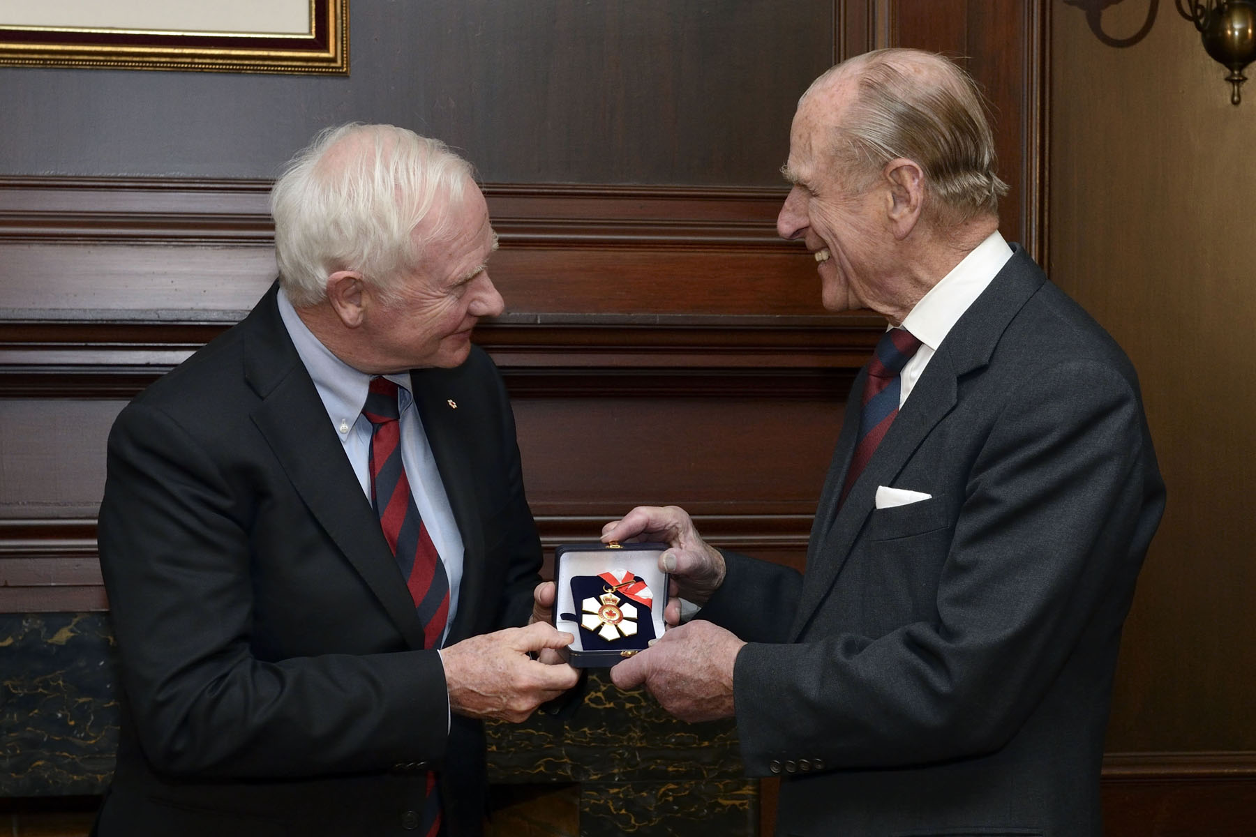 "His Royal Highness was first presented with the insignia of Companion of the Order of Canada. His citation is as follows: ""His Royal Highness The Prince Philip, Duke of Edinburgh, has long embodied dignity, loyalty and service to others. He has known eleven Canadian governors general and eleven prime ministers, and has been present at events which have shaped our nation, including the signing of the Canadian Charter of Rights and Freedoms.  His Royal Highness has a keen interest in the personal development of young people and, through the Duke of Edinburgh's Award, has helped to advance the community engagement and personal achievement of young Canadians. In addition, he has long held close ties with Canada's Armed Forces, which have recognized his service with the unique ranks of honorary admiral and general. Through his many visits to Canada, both on his own and with Her Majesty The Queen, he has shown his lasting concern for our country and for Canadians."""