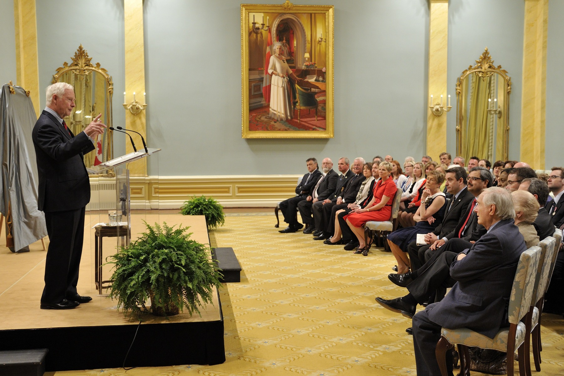 A postage stamp commemorating the 60th anniversary of Her Majesty Queen Elizabeth II's coronation was unveiled during a ceremony at Rideau Hall.