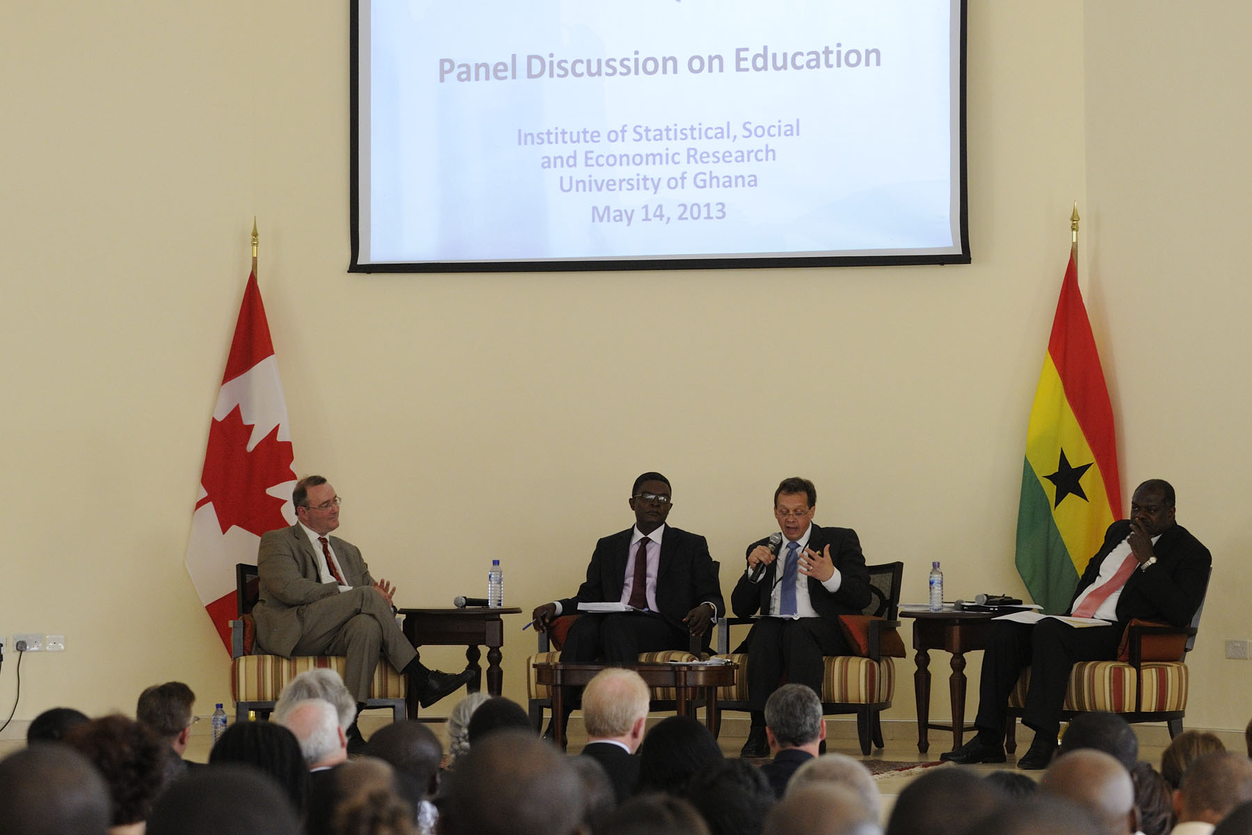 The speech was followed by a discussion with Canadian delegates Mr. Paul Davidson, President of the Association of Universities and Colleges of Canada (left), and Mr. Jean Lebel, Acting President of International Development Research Centre (right), and Ghanaian panellists, which was moderated by the Honourable Naana Jane Opoku-Agyeman, Minister of Education.