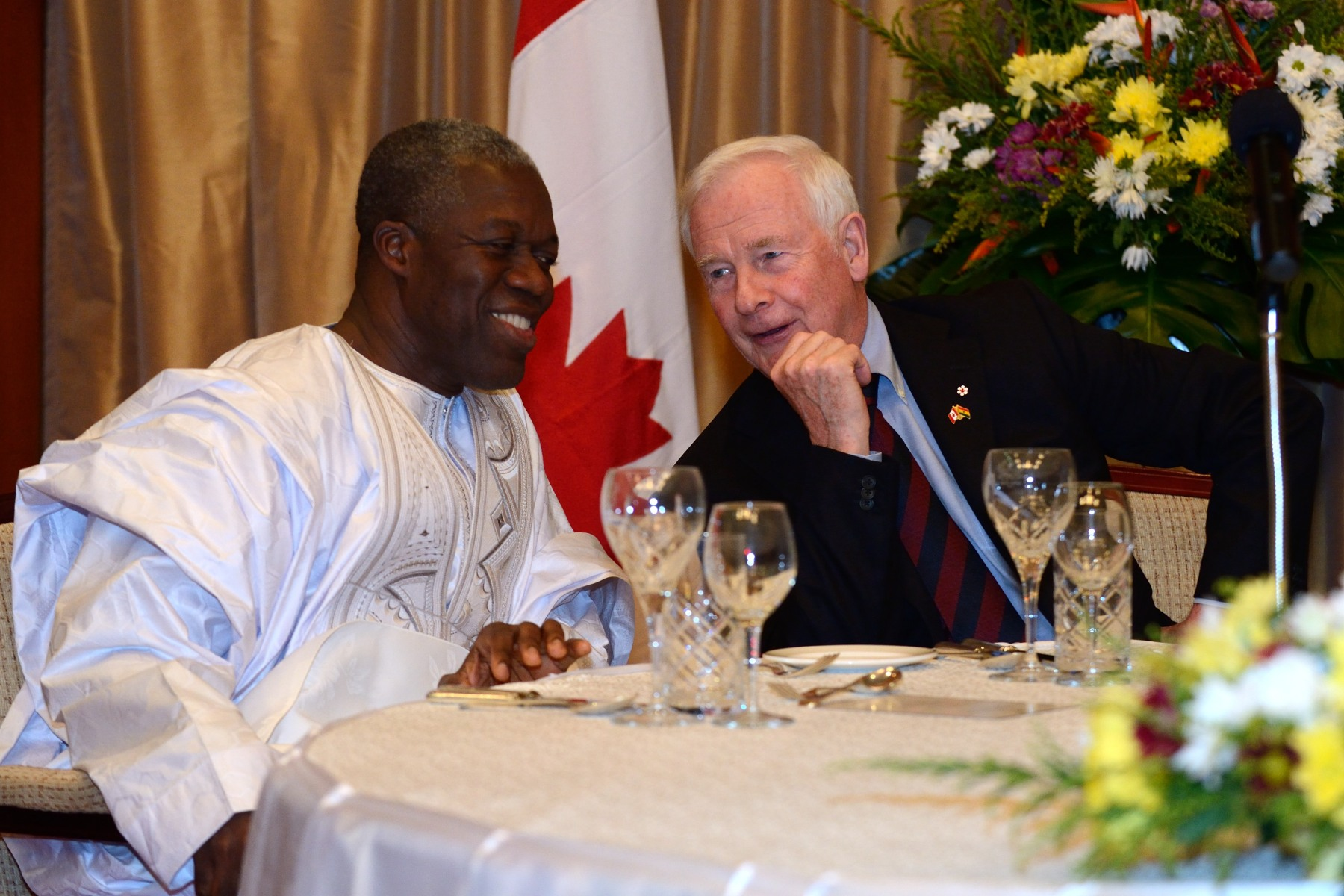 During the dinner, the Governor General discussed with His Excellency Kwesi Bekoe Amissah-Arthur, Vice-President of the Republic of Ghana, whom he had met earlier in the day.