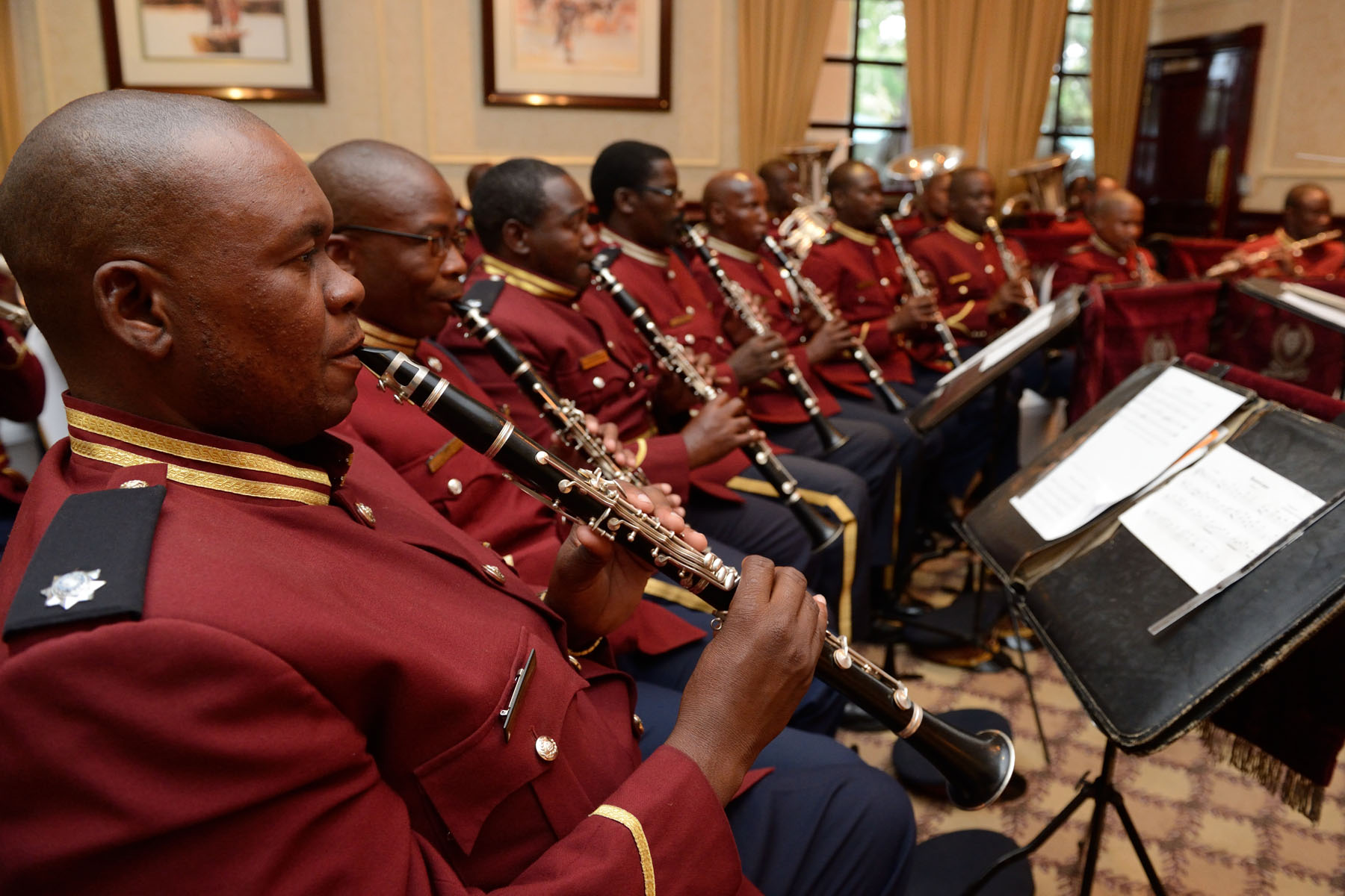 A military band provided entertainment to guests during the State luncheon.