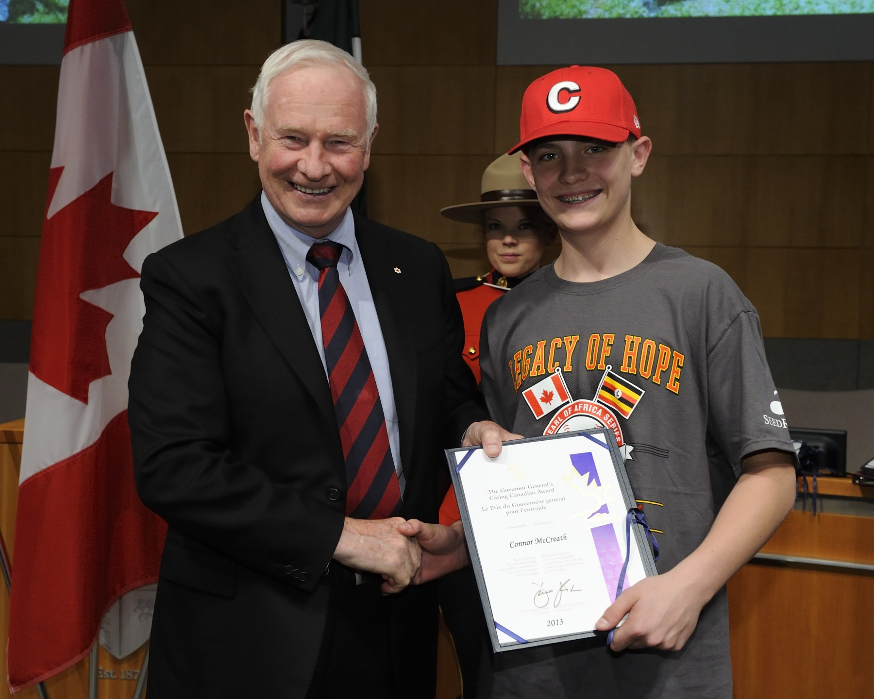Connor McCreath, was one of ten Langley Little League players to receive the Caring Canadian Award.
