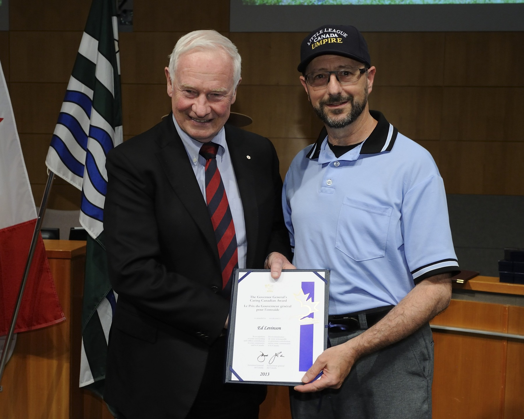 Mr. Ed Levinson, a Langley Little League umpire, received the Caring Canadian Award.