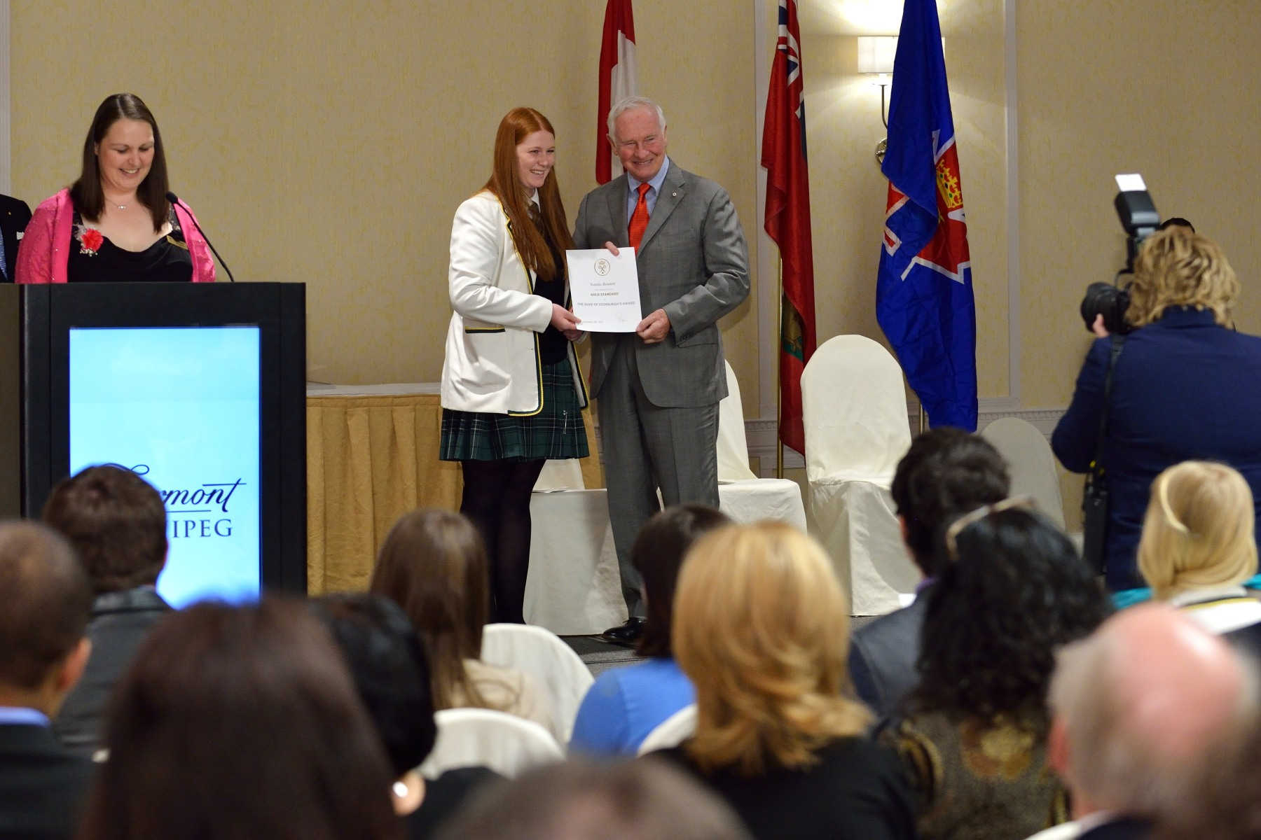 In celebration of 50 years of challenging young people in Canada, the Governor General presented The Duke of Edinburgh's Gold Award of Achievement to 25 young people from across the province of Manitoba in recognition for their dedication and personal accomplishments within their communities.