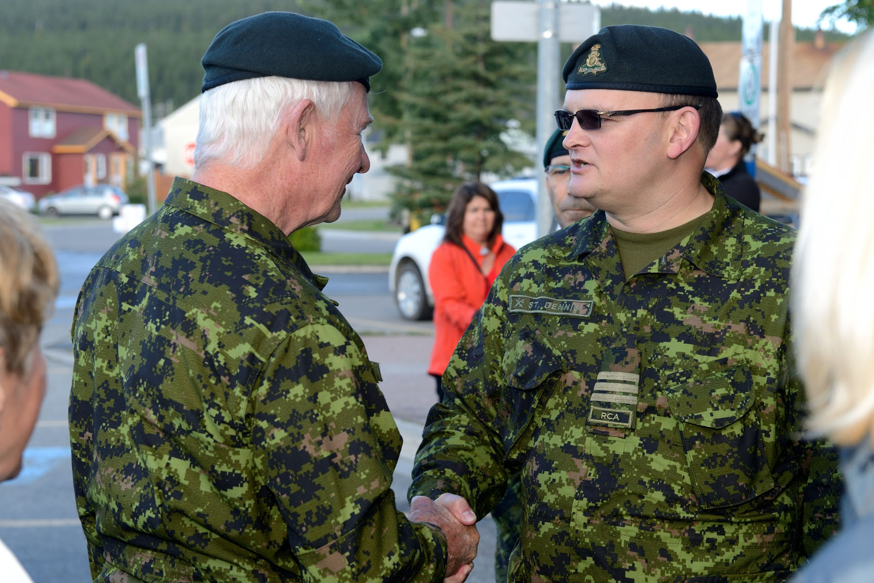 Upon his arrival at the Operation NANOOK Headquarters, His Excellency was greeted by Joint Task Force (North)Deputy Chief of Staff Operations and Plans Lieutenant-Colonel John St. Dennis.