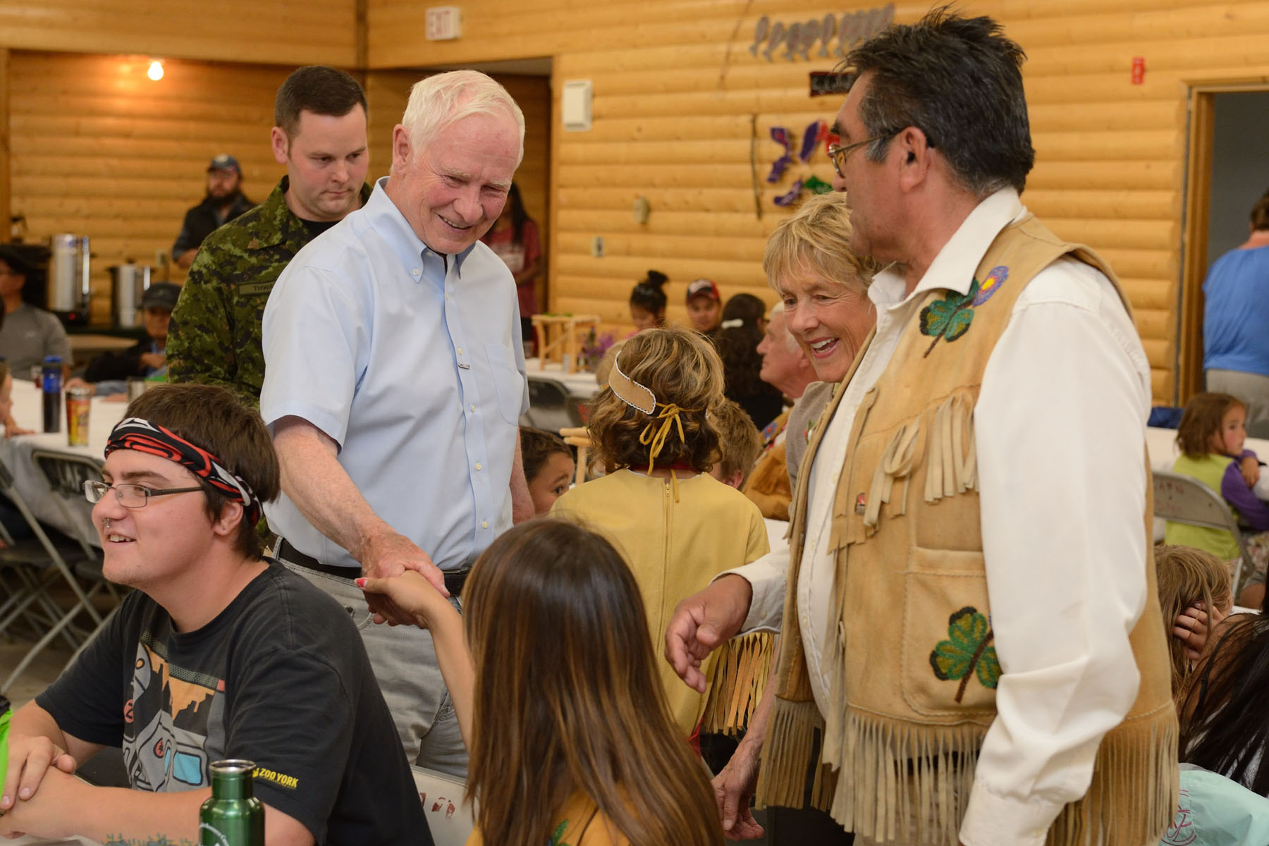 During this community dinner, Their Excellencies met with members of the community who are taking part in an eight-day hike from Neskatahin to Hutchi.