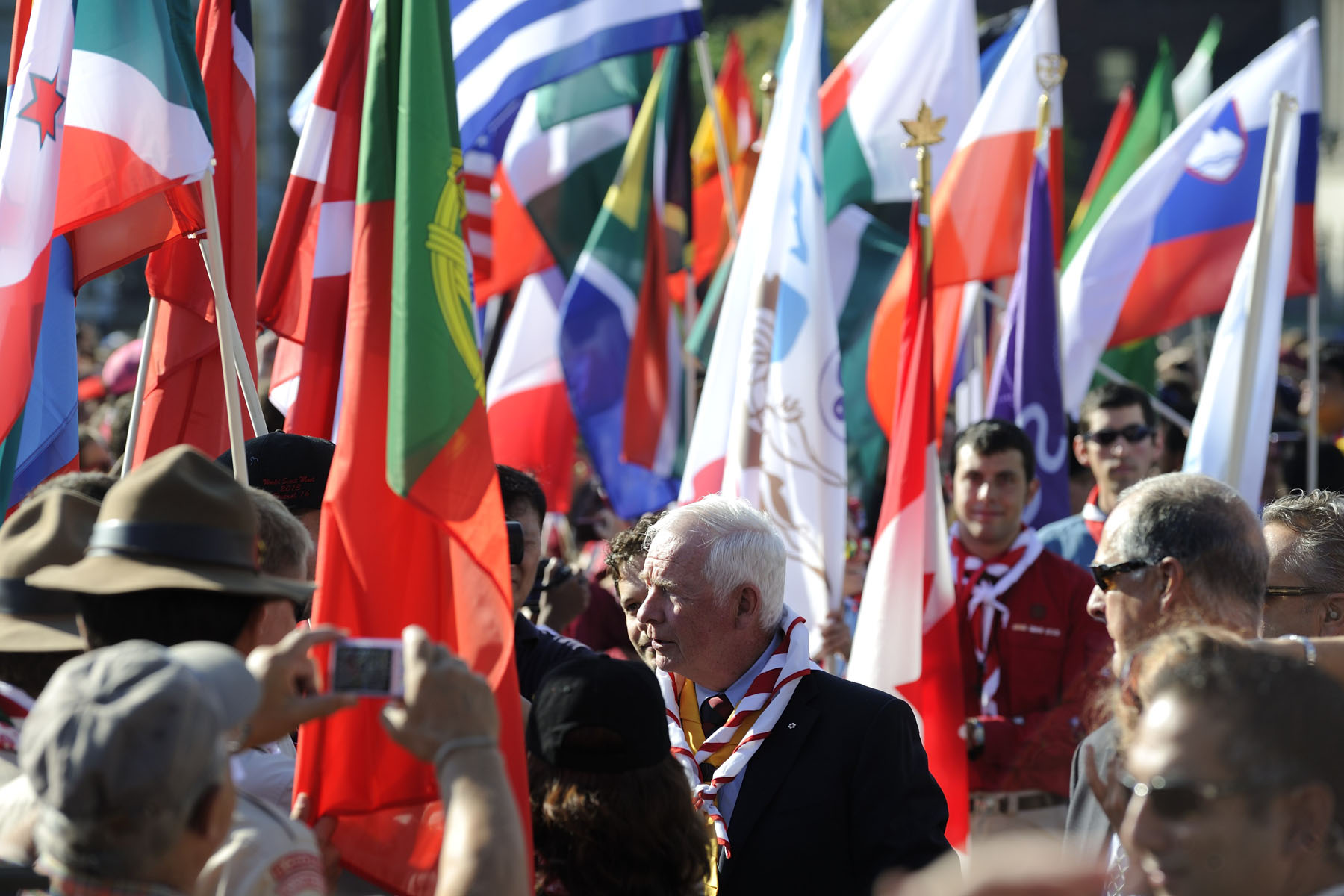 The Governor General was greeted by flags from around the world upon his arrival at Parliament Hill.