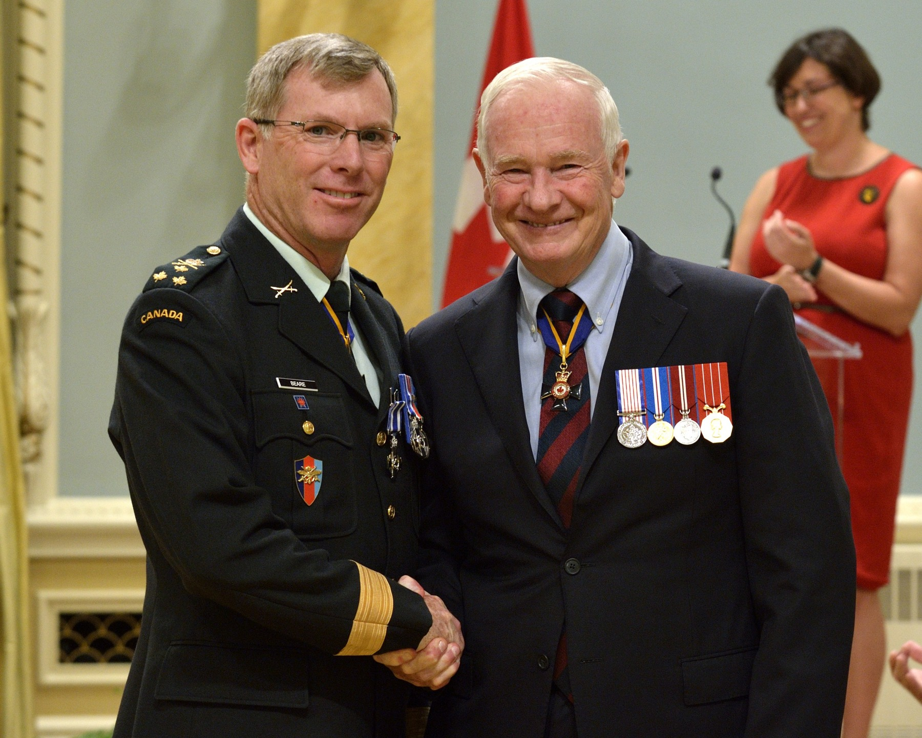 Major-General Stuart A. Beare, C.M.M., M.S.C., M.S.M., C.D. (Shilo, Manitoba) received the Meritorious Service Cross (Military Division). As the deputy commander of the military police within the NATO Training Mission–Afghanistan from June 2010 to July 2011, Major-General Beare led the largest build-up of police forces in the mission's history. Working tirelessly with his Afghan counterparts and commanding a diverse, multinational organization, he built a solid foundation for the Afghan National Police and positioned the organization for ongoing success. Major-General Beare's leadership and strategic vision had a profound and lasting impact on the success of the mission.