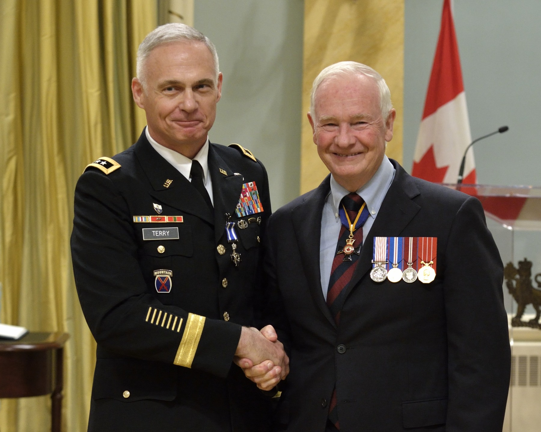 Lieutenant-General James Terry, M.S.C.(United States Army) received the Meritorious Service Cross (Military Division). Lieutenant-General Terry, of the United States Army, provided exceptional leadership and vision as the commanding general of Regional Command (South) in Afghanistan from November 2010 to October 2011.  His support for Canada's mission and Canadian soldiers on the ground was critical to the Canadian Armed Forces' operational success. A steadfast ally, Lieutenant-General Terry widely promoted the significance of the Canadian contribution, highlighting its role in bringing stability to Afghanistan and helping maintain the Canadian Armed Forces' legacy there.