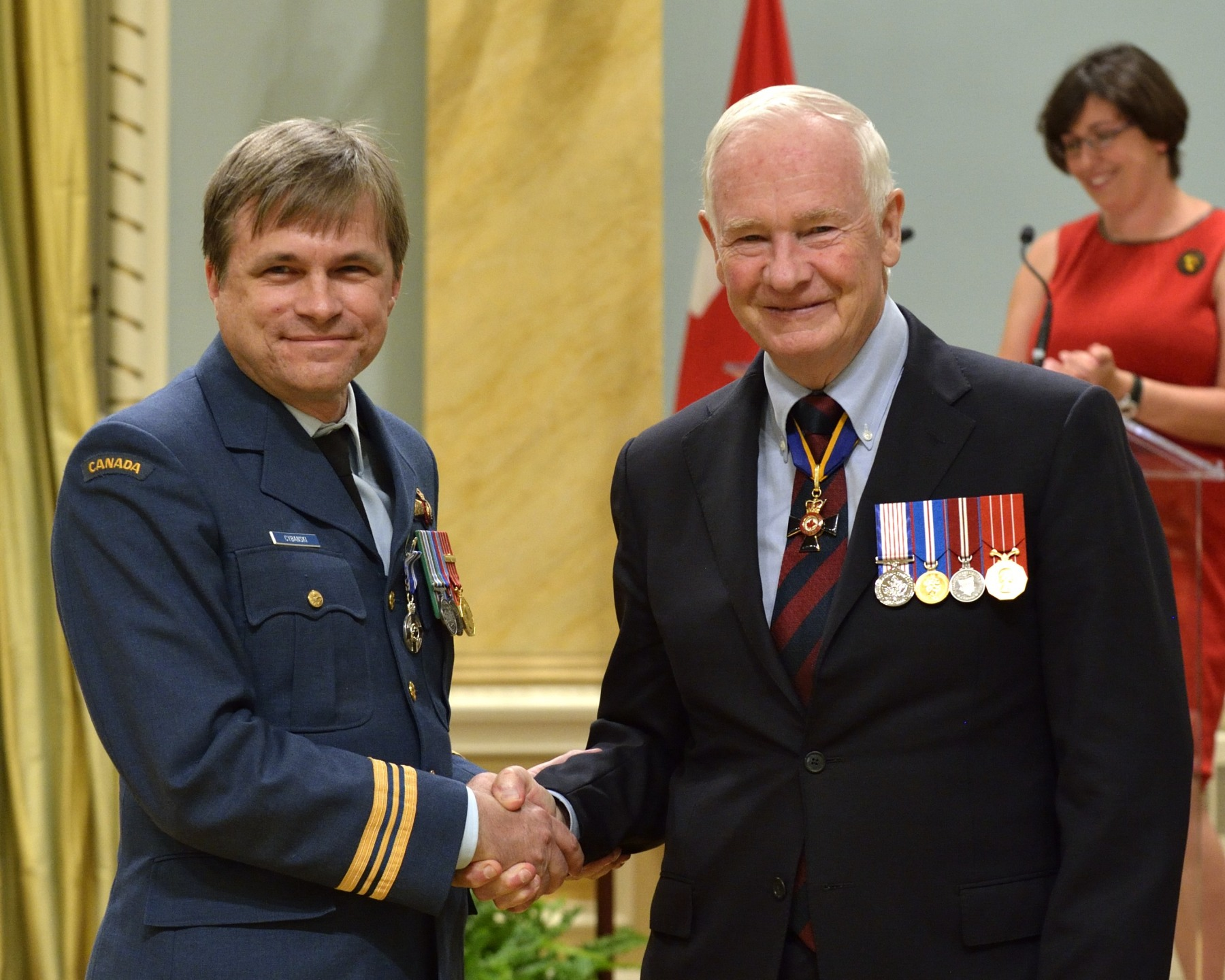 Major Adam Richard Cybanski, M.S.M., C.D. (Kemptville, Ontario) received the Meritorious Service Medal (Military Division). Since 2009, Major Cybanski has demonstrated exceptional dedication to developing innovative flight safety processes. His accomplishments in flight-path reconstruction and visualization have greatly enhanced Canada's reputation as a leader in the field of flight safety, and will serve the interest of our flight safety program and the aviation communities for years to come. Major Cybanski's unassailable logic and unmatched expertise have been recognized at the national and international levels, and have brought great honour to the Canadian Armed Forces and to Canada.