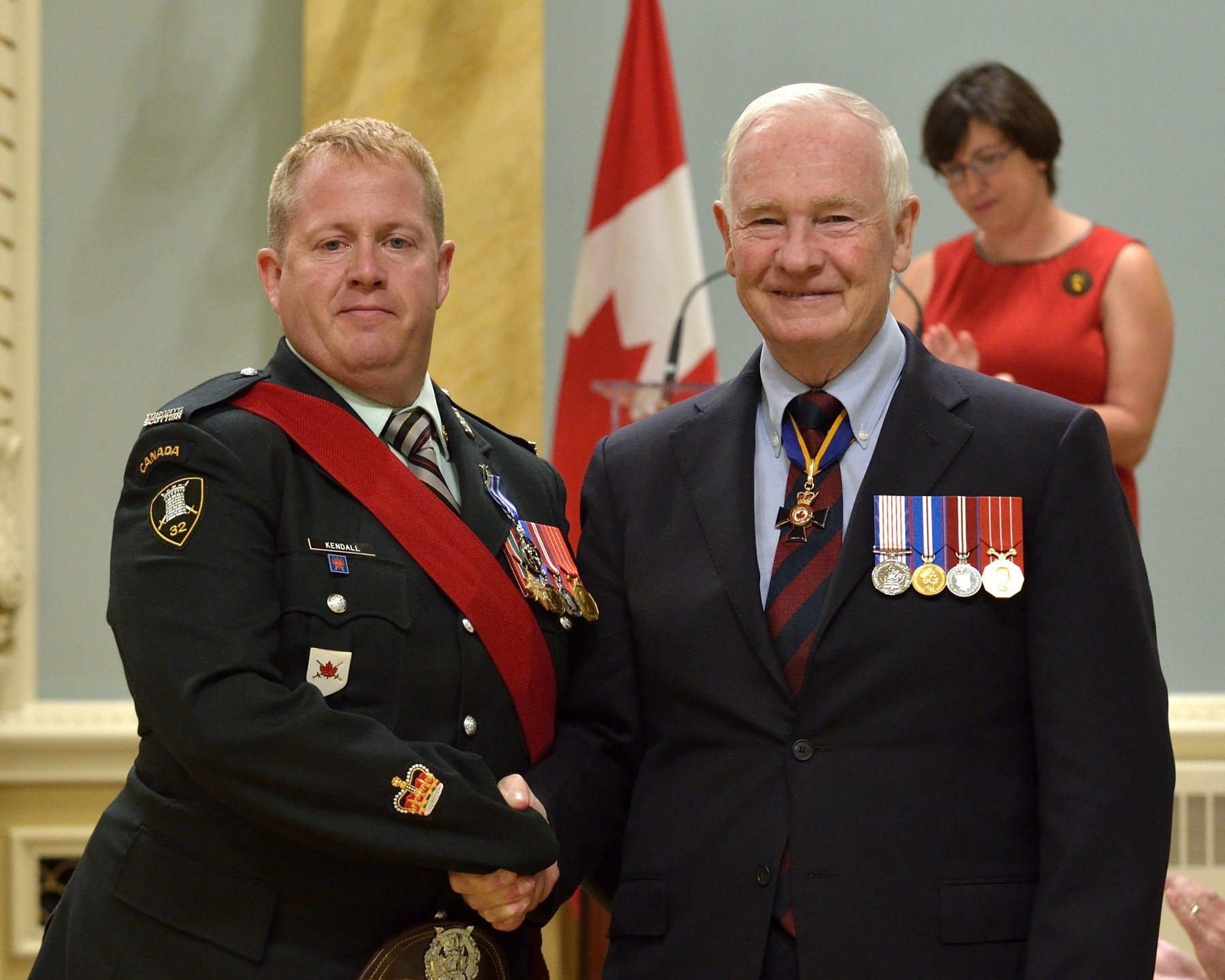 Warrant Officer Allan Mark Kendall, M.S.M., C.D. (Collingwood, Ontario) received the Meritorious Service Medal (Military Division). On January 10, 2011, Warrant Officer Kendall rescued a suicidal woman who had wandered out onto thin ice on the Severn River, in Sandy Lake, Ontario. Without regard for his own safety, he went out onto the ice to secure the woman, which allowed his Ranger team to haul them both safely back to shore. Warrant Officer Kendall's quick thinking brought great credit to the Canadian Rangers and to the Canadian Armed Forces.