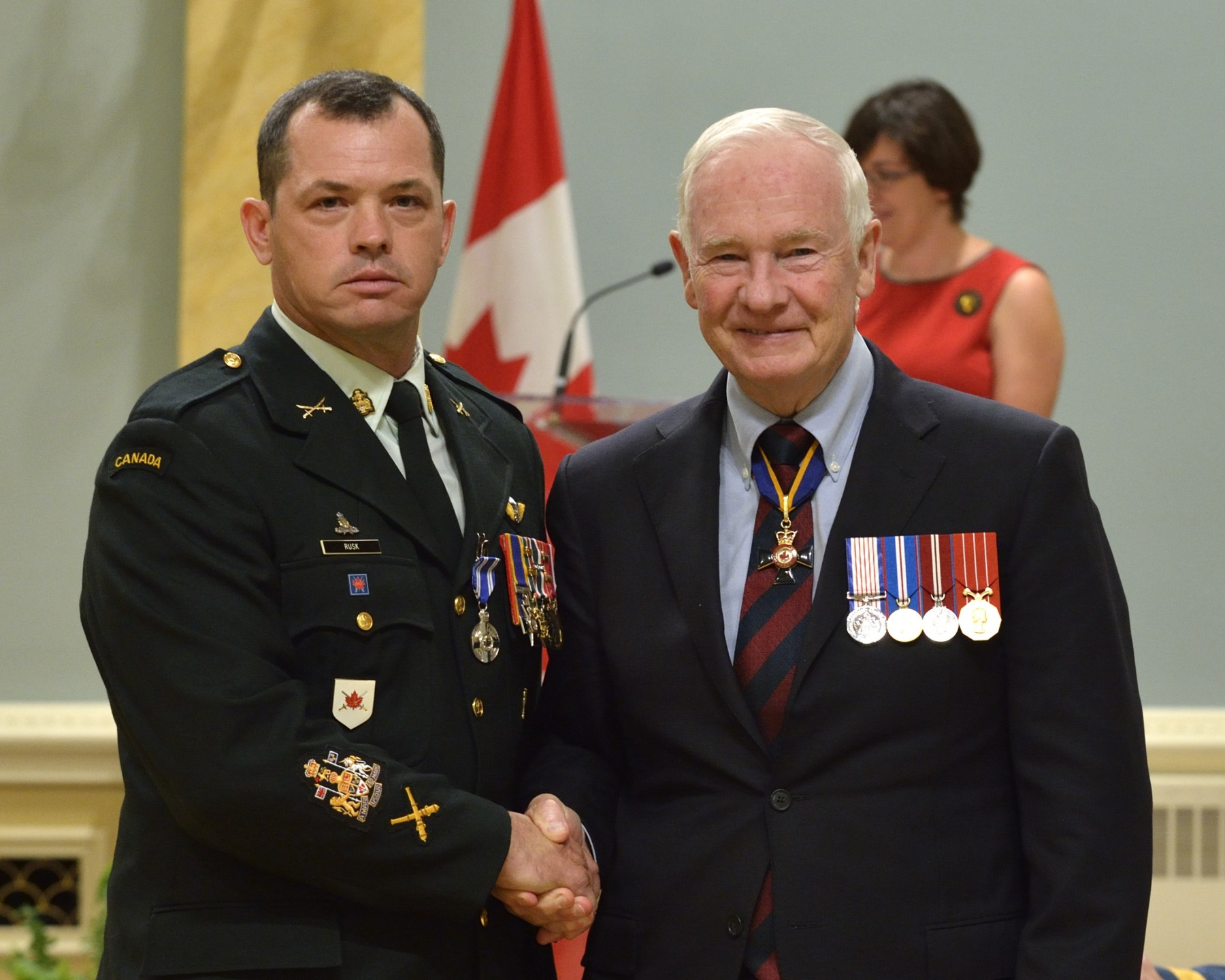 Chief Warrant Officer Christopher Paul Rusk, M.M.M., M.S.M., C.D. (Brampton, Ontario) received the received the Meritorious Service Medal (Military Division). From January 2010 to February 2011, Chief Warrant Officer Rusk excelled as regimental sergeant-major of three organizations. Initially deployed with the Provincial Reconstruction Team, he quickly transitioned to a mentoring role and prepared an infantry kandak for combat, before moving to the NATO Training Mission to help lay the foundation for Afghan National Police development. Whether in the classroom, at headquarters, or on the battlefield, Chief Warrant Officer Rusk distinguished himself as an exceptional soldier and dynamic leader.