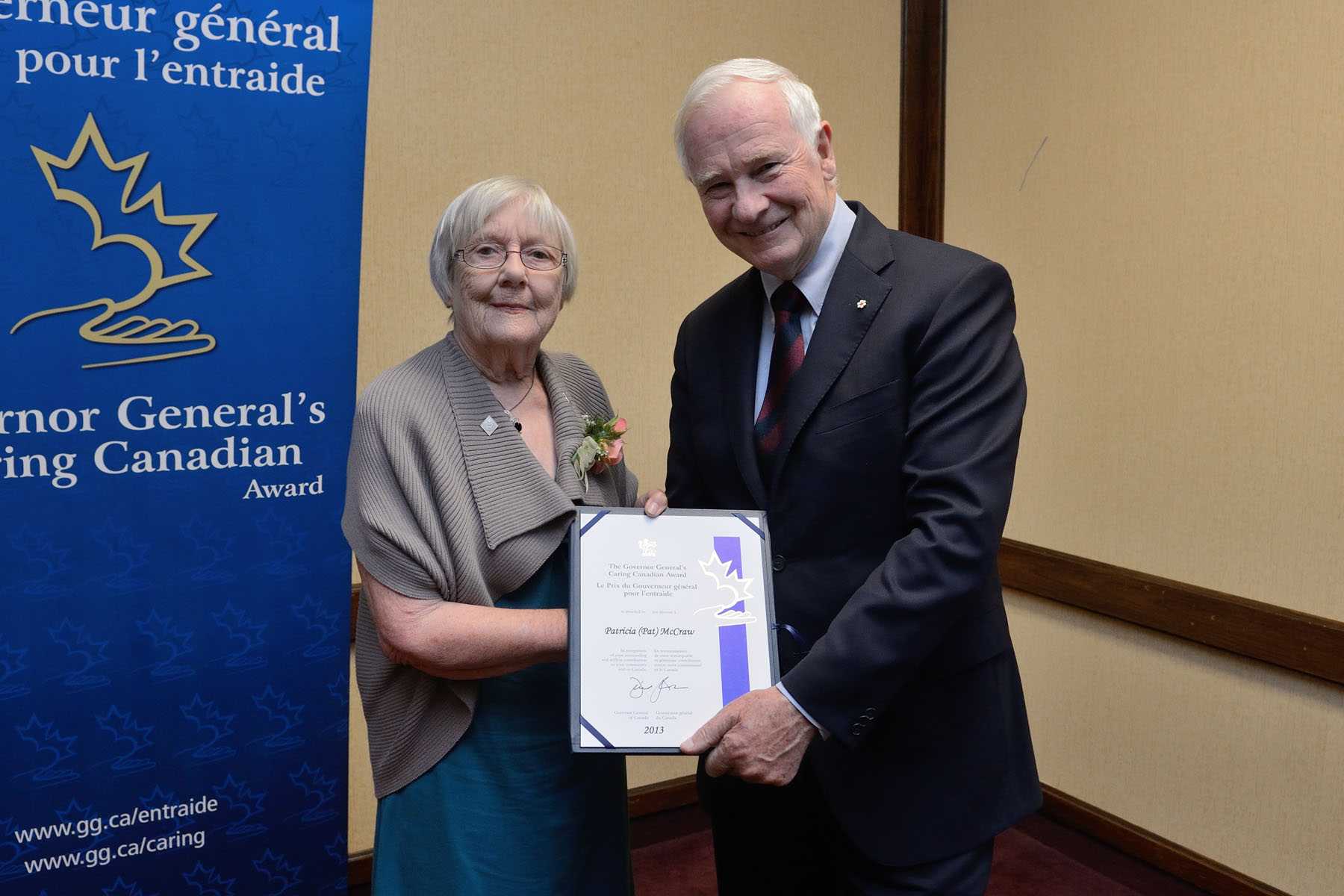 His Excellency presented the Governor General's Caring Canadian Award to Patricia McCraw from Guelph, Ontario, during a ceremony at the Waterloo Inn. At 84 years old, Patricia McCraw is still deeply committed to the betterment of her community. A volunteer for the past 50 years, she was a founding member of the Guelph Women of Distinction Awards, the Guelph Community Foundation, and the Guelph chapter of the Canadian Federation of University Women. She is also a past president of Family and Children's Services of Guelph and Wellington County, and of the national board of Save the Children Canada. She is also committed to advancing the status of women, serving the Zonta Club of Guelph for 31 years. She was a public member of the Ontario College of Pharmacists.