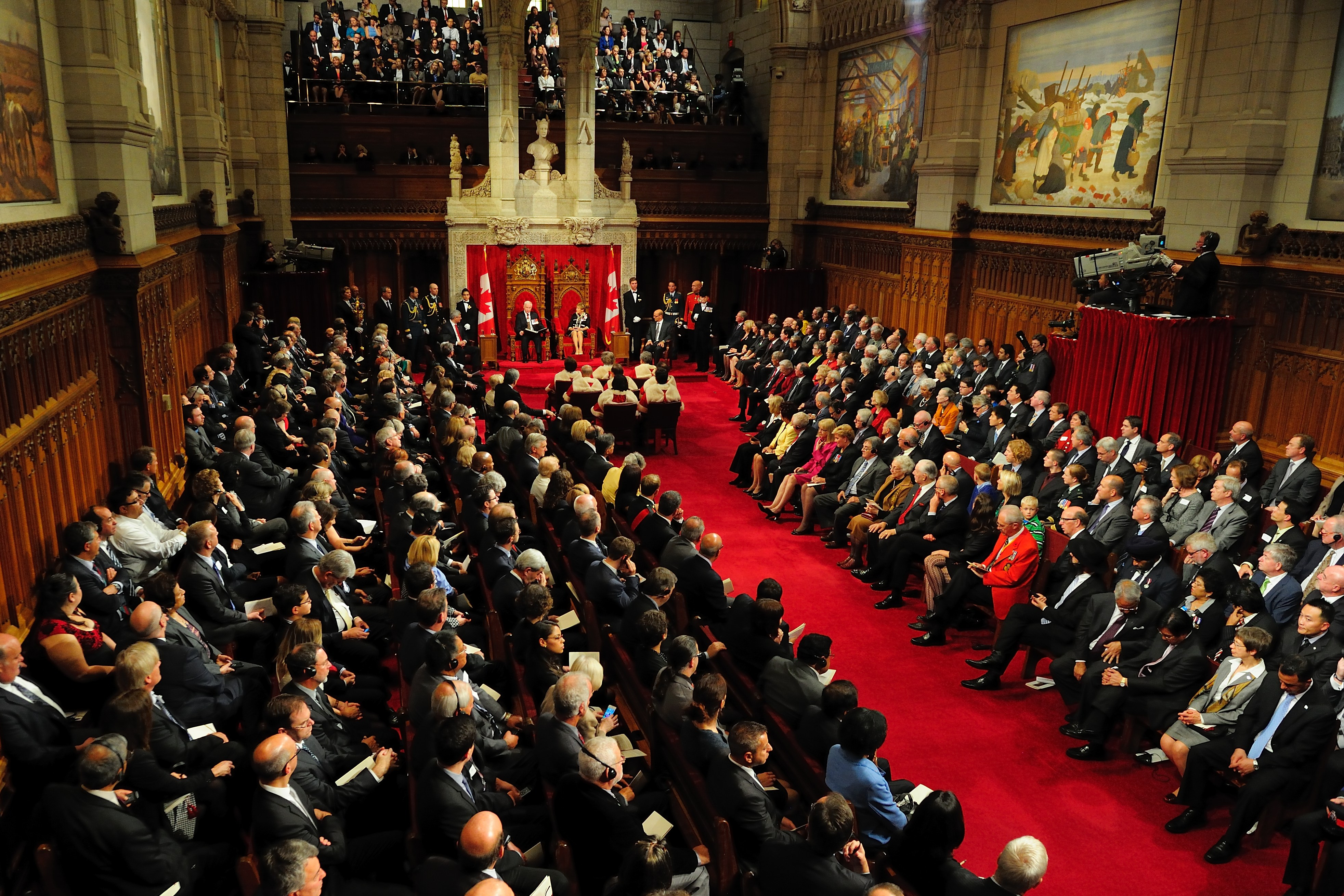 The Governor General, as the Queen's representative in Canada, reads the Speech from the Throne to officially open a new session of Parliament. The Speech sets out the broad goals and directions of the government and the initiatives it will undertake to accomplish those goals.